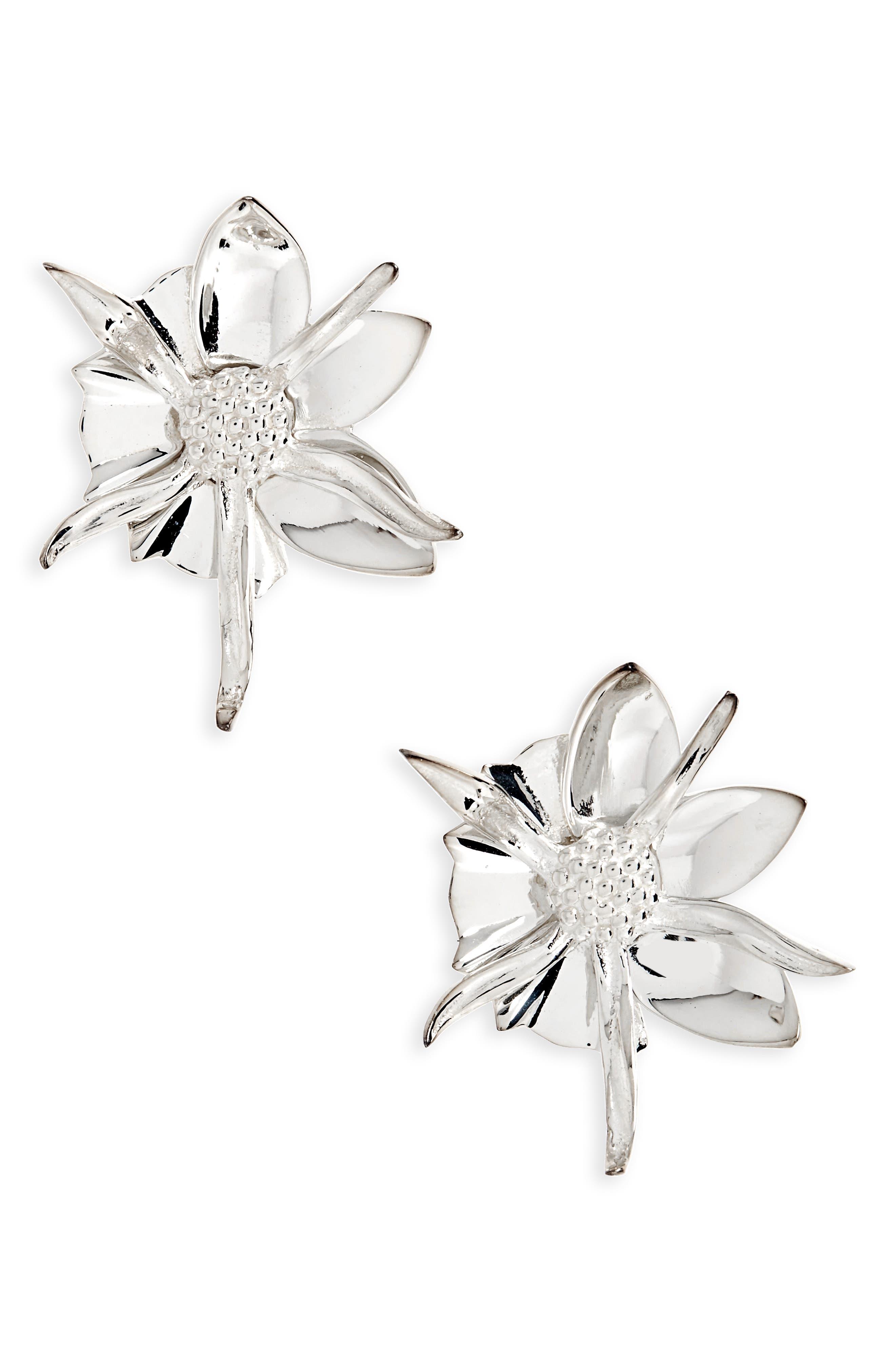 Medium Wildflower Stud Earrings,                             Main thumbnail 1, color,                             SILVER