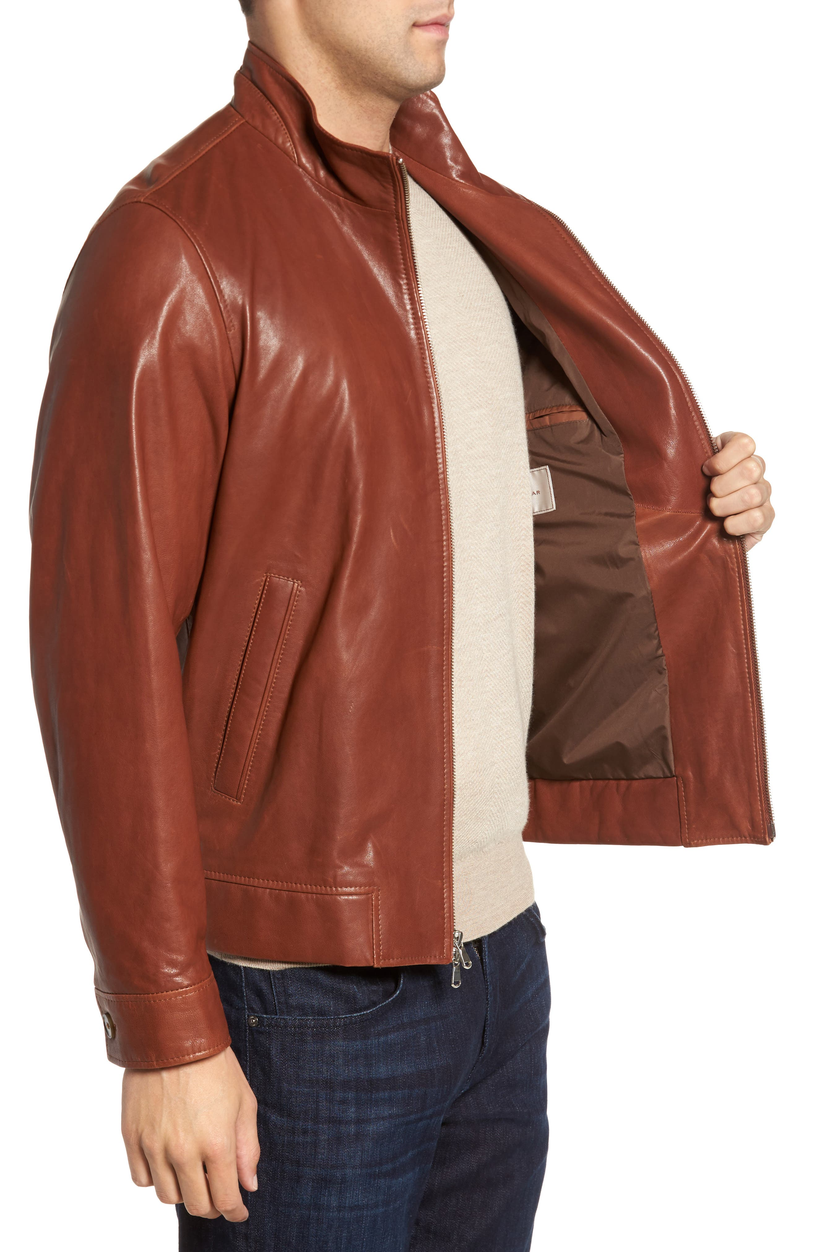 Classic Leather Bomber Jacket,                             Alternate thumbnail 3, color,