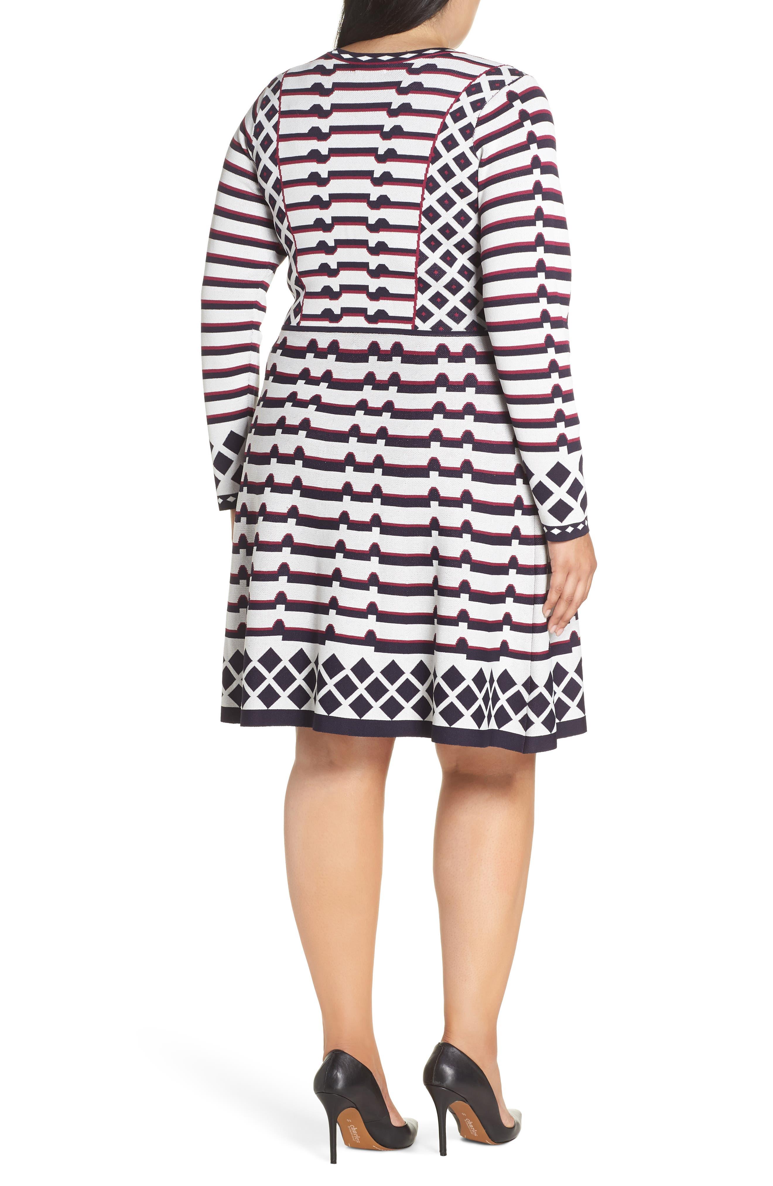 Artwork Jacquard Sweater Dress,                             Alternate thumbnail 2, color,                             NAVY