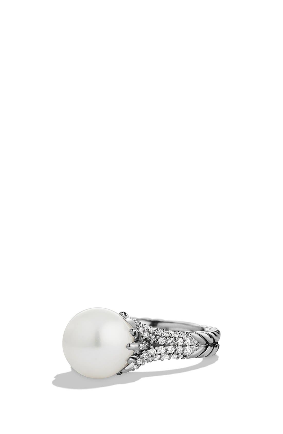 'Starburst' Pearl Ring with Diamonds,                             Main thumbnail 1, color,                             PEARL