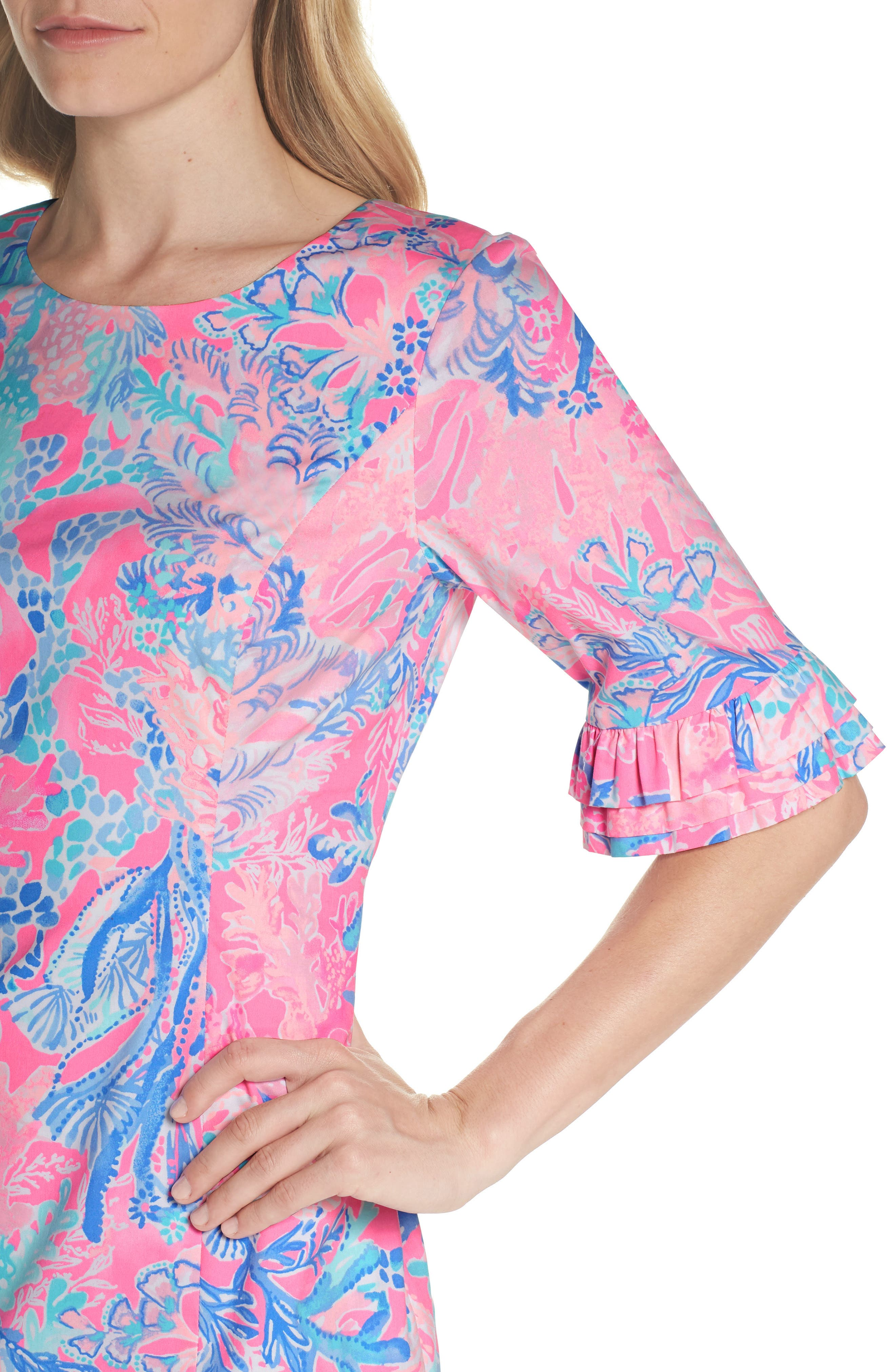 Fiesta Stretch Sheath Dress,                             Alternate thumbnail 4, color,                             LIGHT PASCHA PINK AQUADESIAC