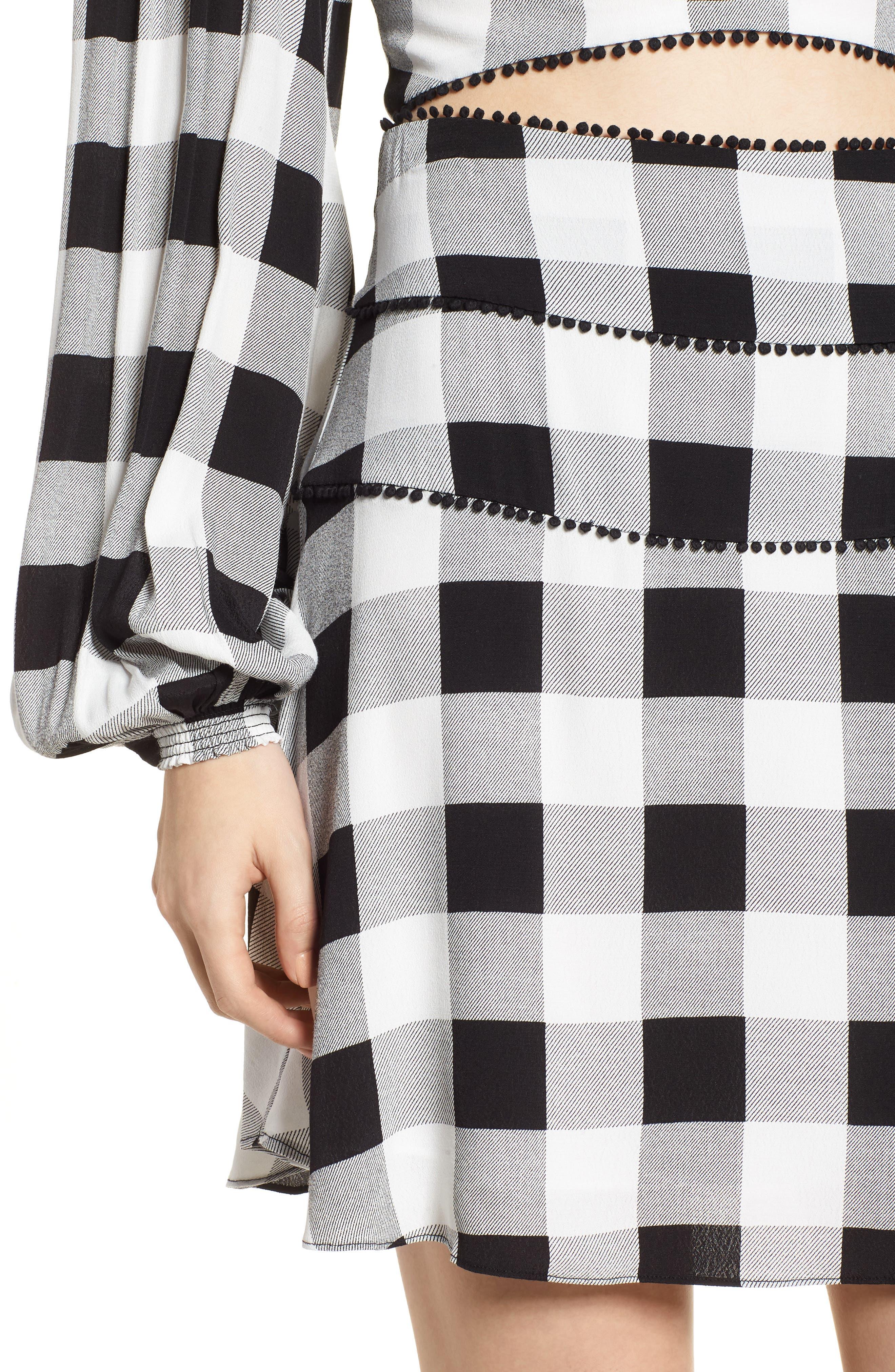 Bell High Waist Miniskirt,                             Alternate thumbnail 4, color,                             002