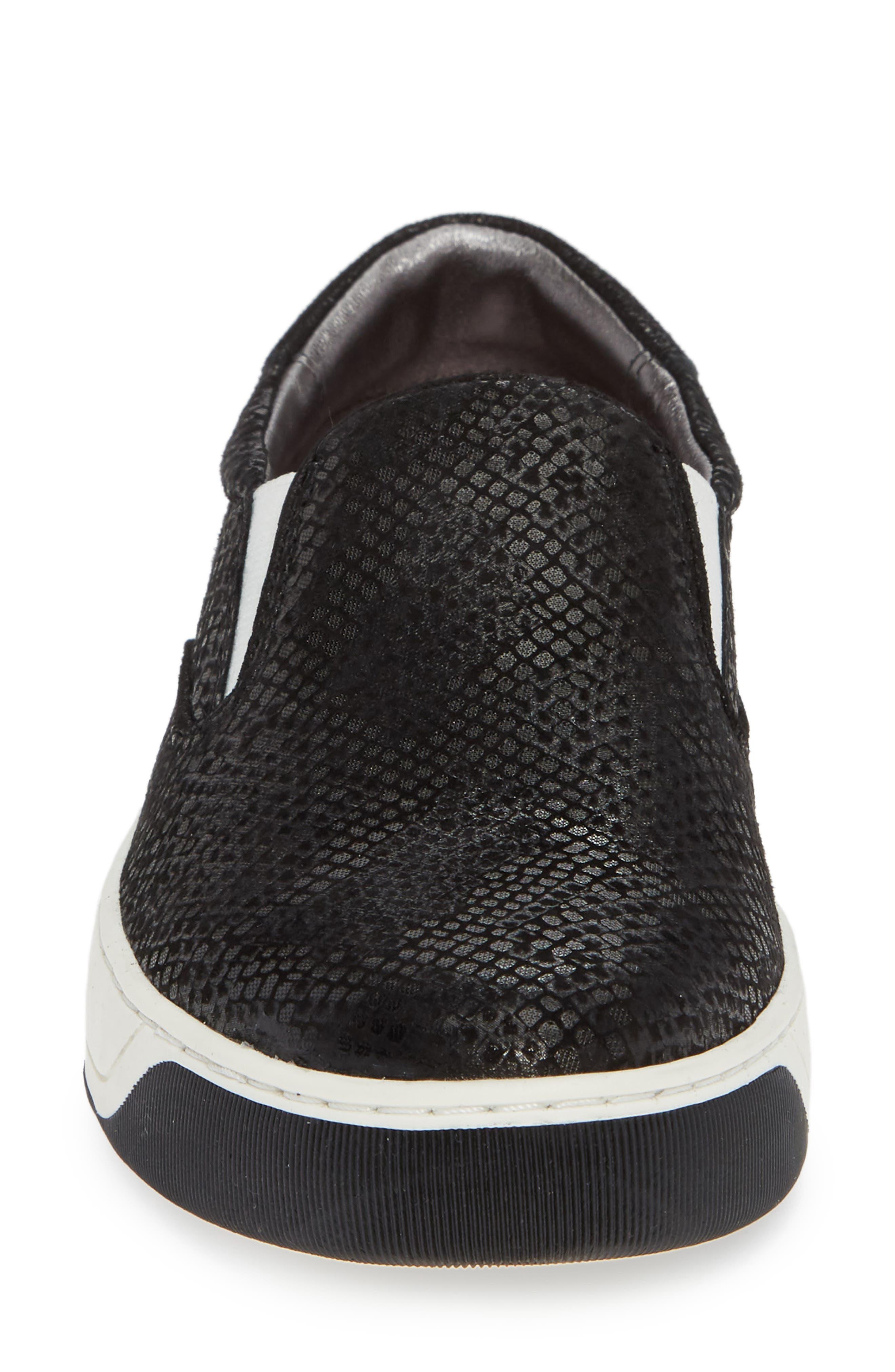 Elaine Slip-On Sneaker,                             Alternate thumbnail 4, color,                             BLACK SNAKE PRINT SUEDE