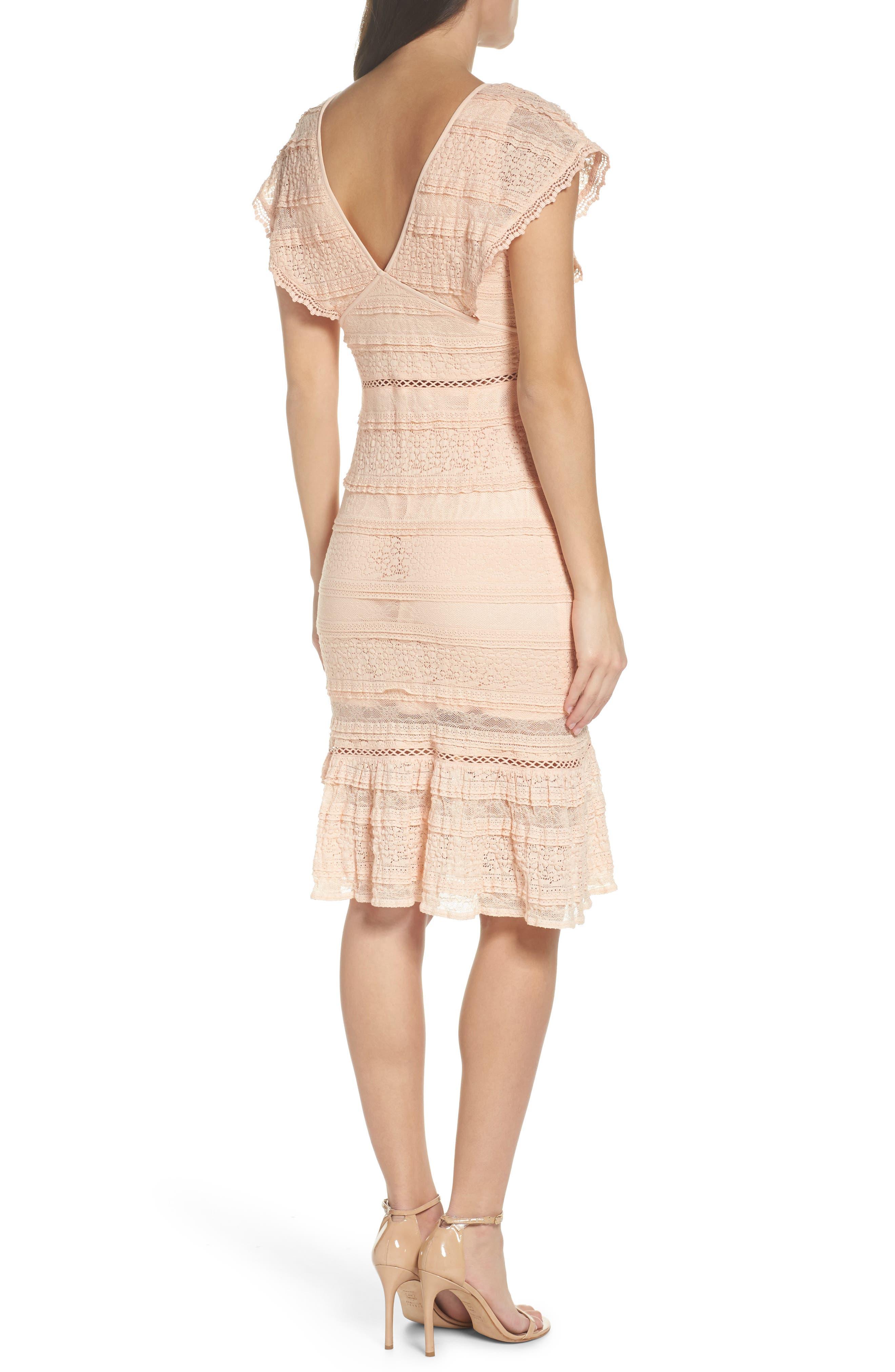 Makayla Flutter Trim Lace Sheath Dress,                             Alternate thumbnail 2, color,