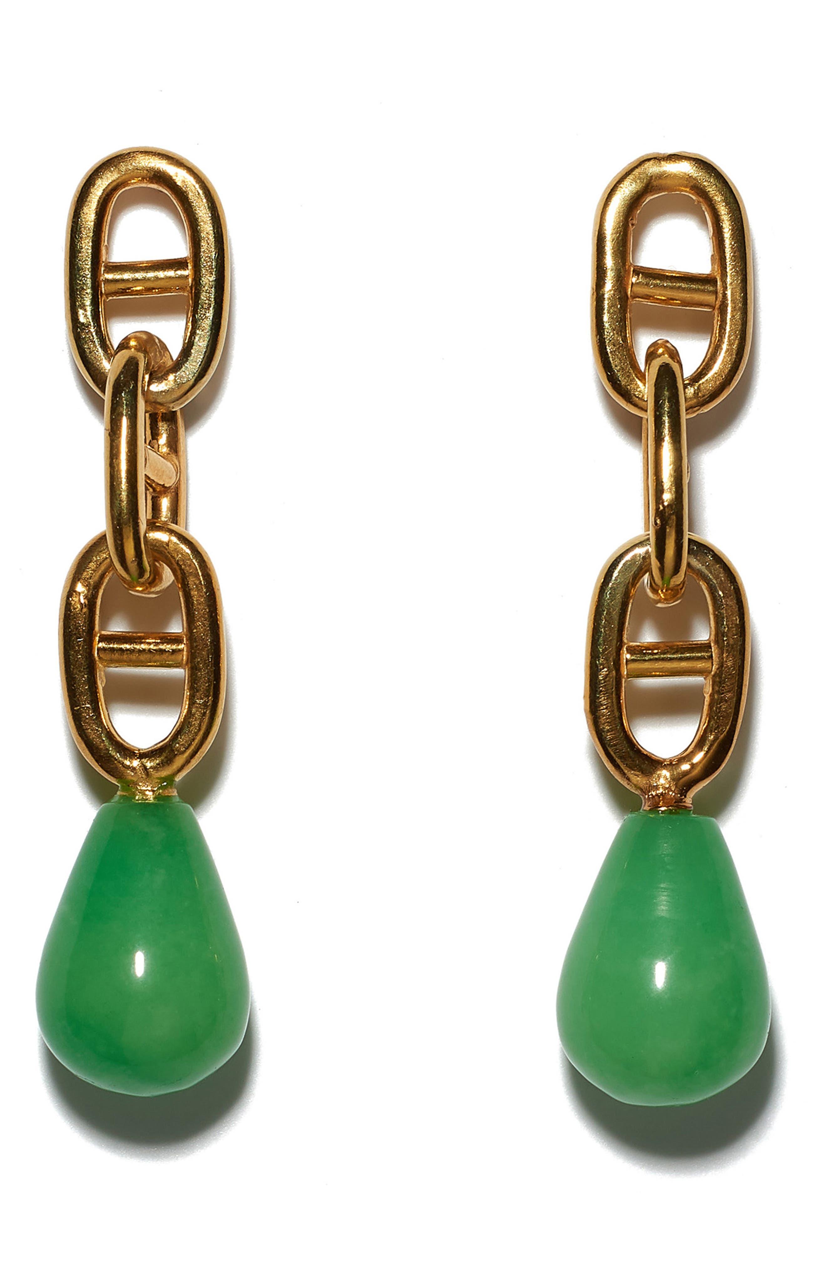 Grotto Drop Earrings,                             Main thumbnail 1, color,                             GOLD / GREEN