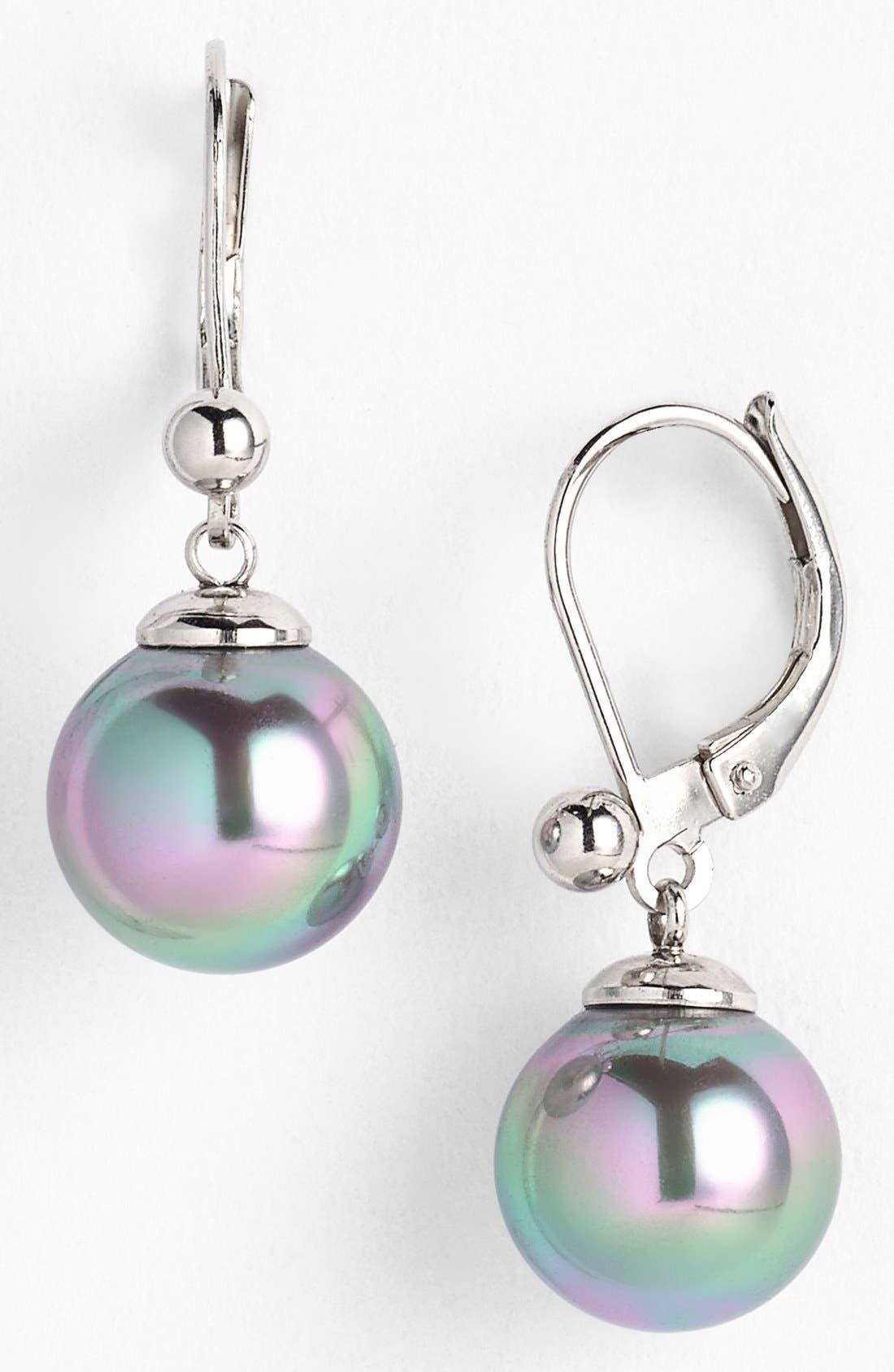 Simulated Pearl Drop Earrings,                             Main thumbnail 1, color,                             SILVER/ GREY PEARL