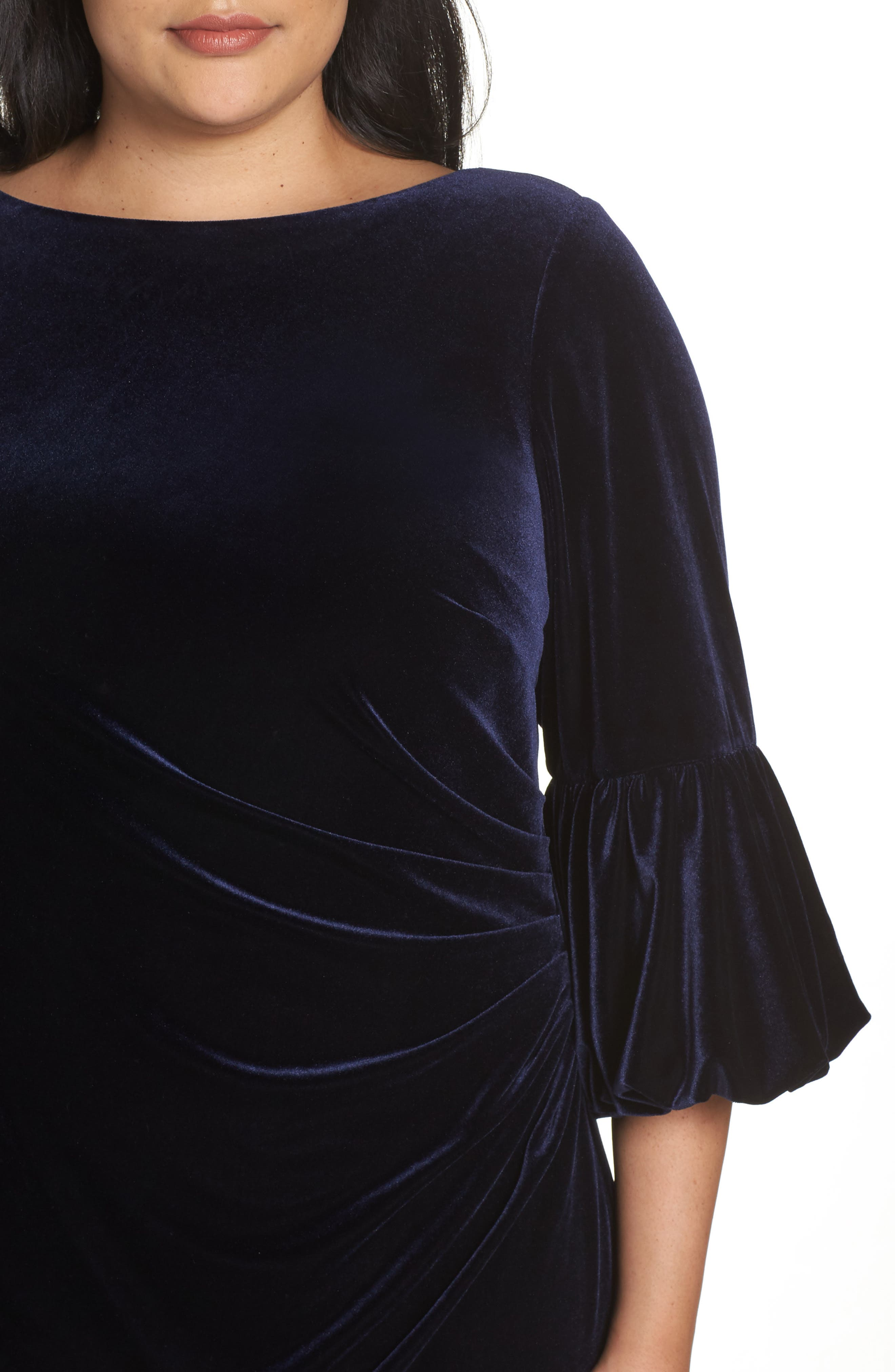 Bubble Sleeve Velvet Sheath Dress,                             Alternate thumbnail 4, color,                             NAVY