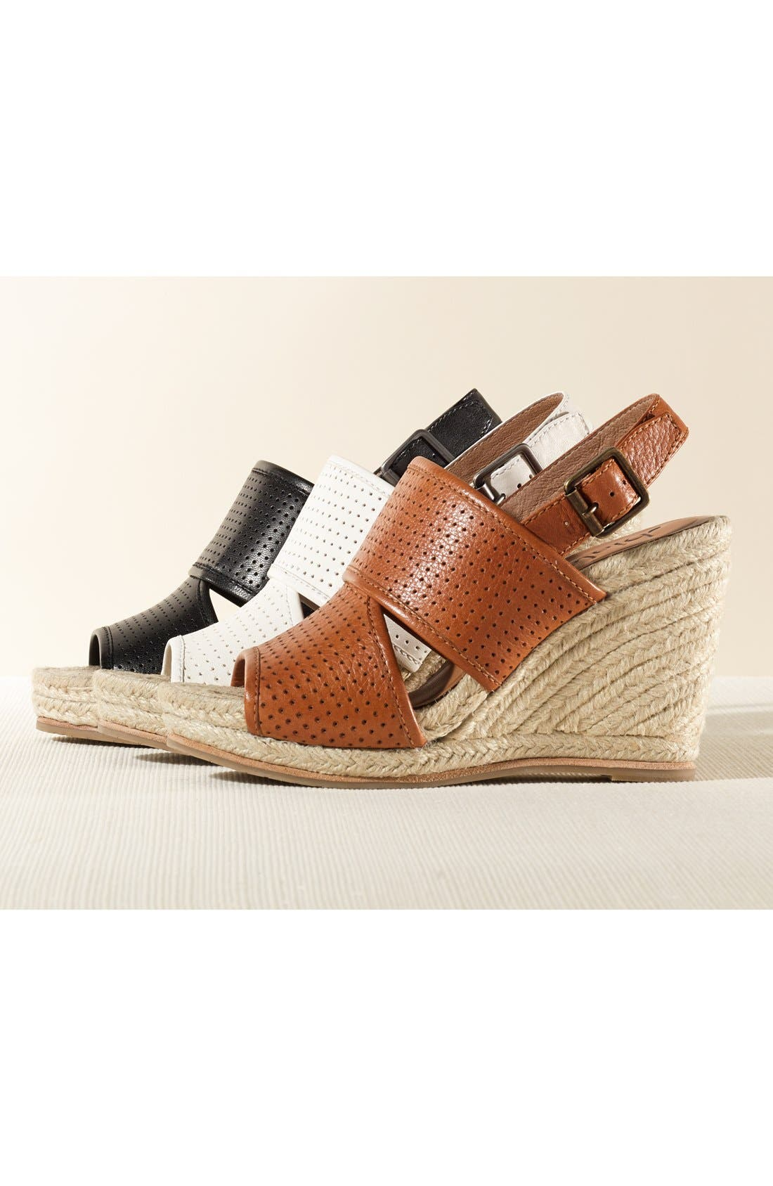 'Joyce' Perforated Espadrille Wedge Sandal,                             Alternate thumbnail 5, color,                             001