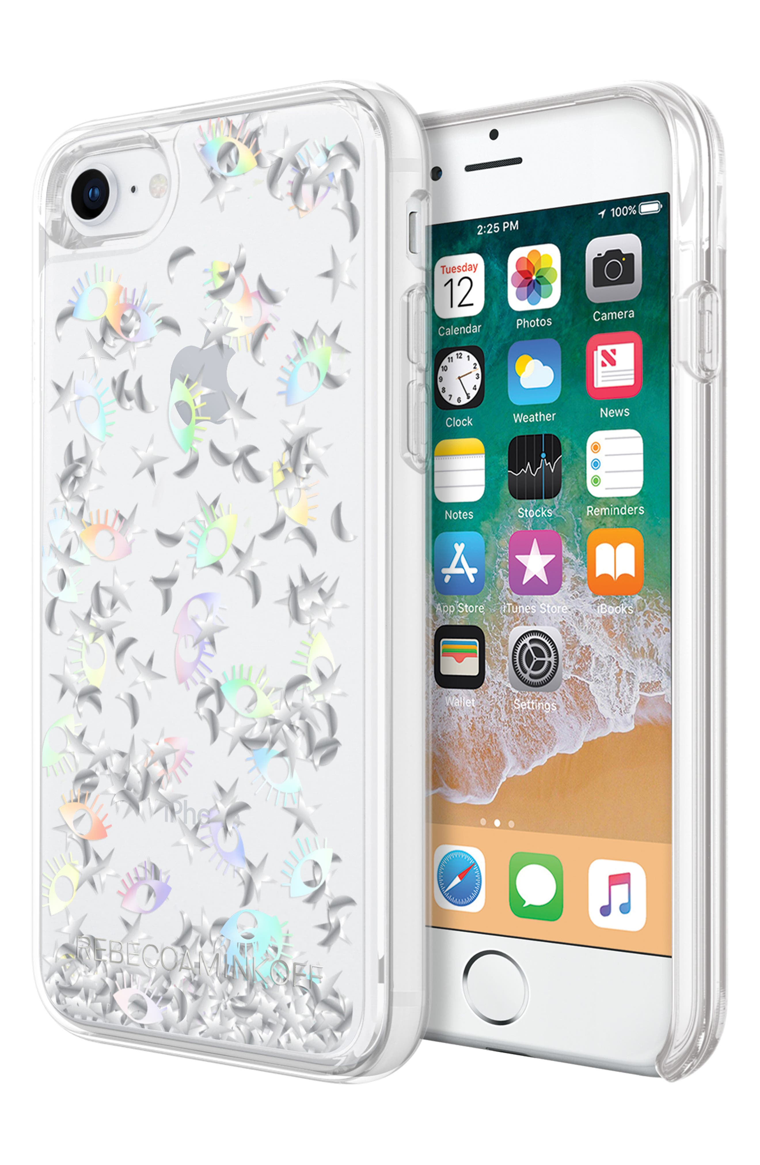 Galaxy Icon Glitterfall iPhone 7/8 & 7/8 Plus Case,                             Alternate thumbnail 8, color,                             HOLOGRAPHIC/ CLEAR