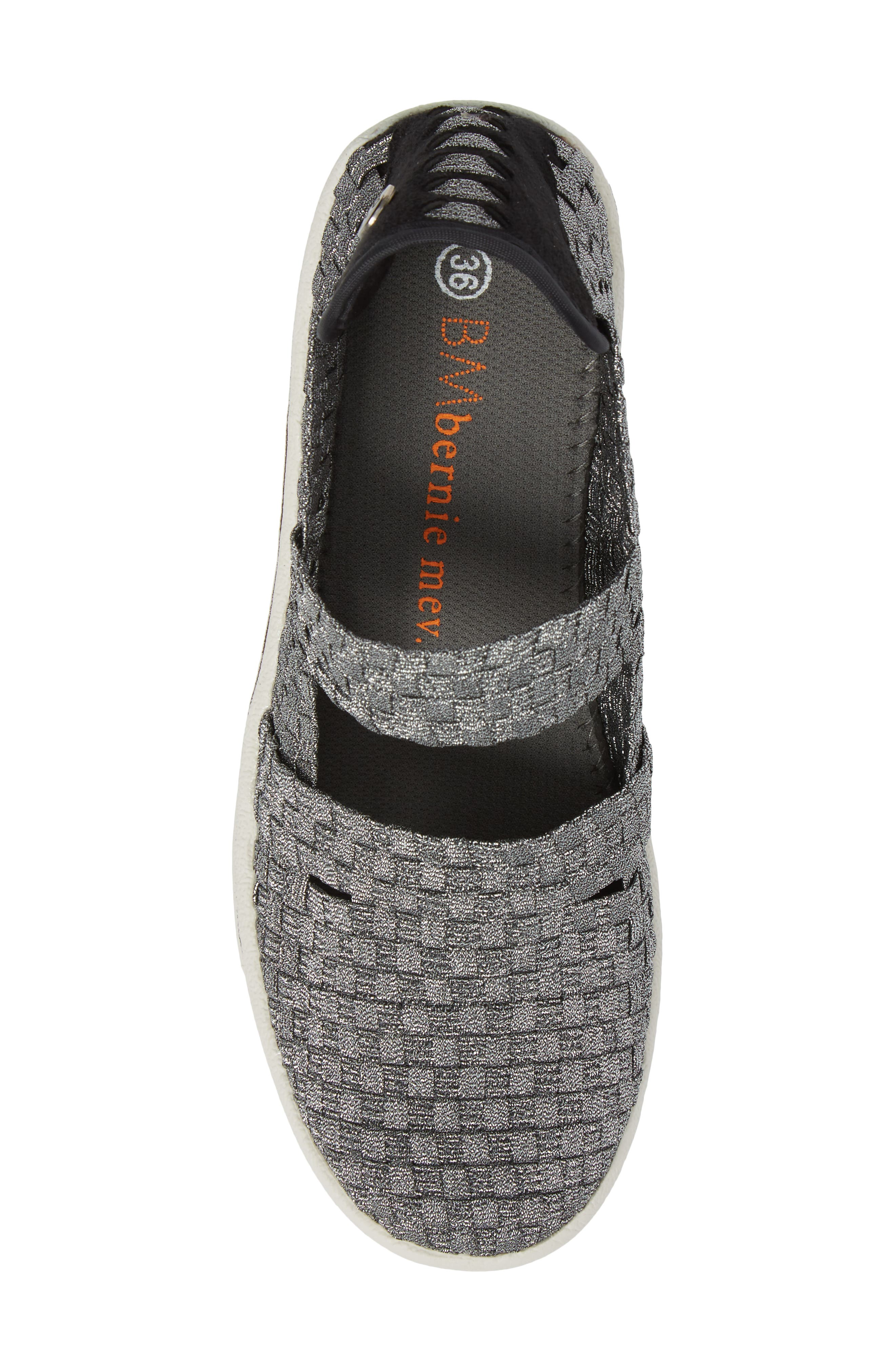 Frontier Woven Mary Jane Wedge,                             Alternate thumbnail 5, color,                             PEWTER FABRIC