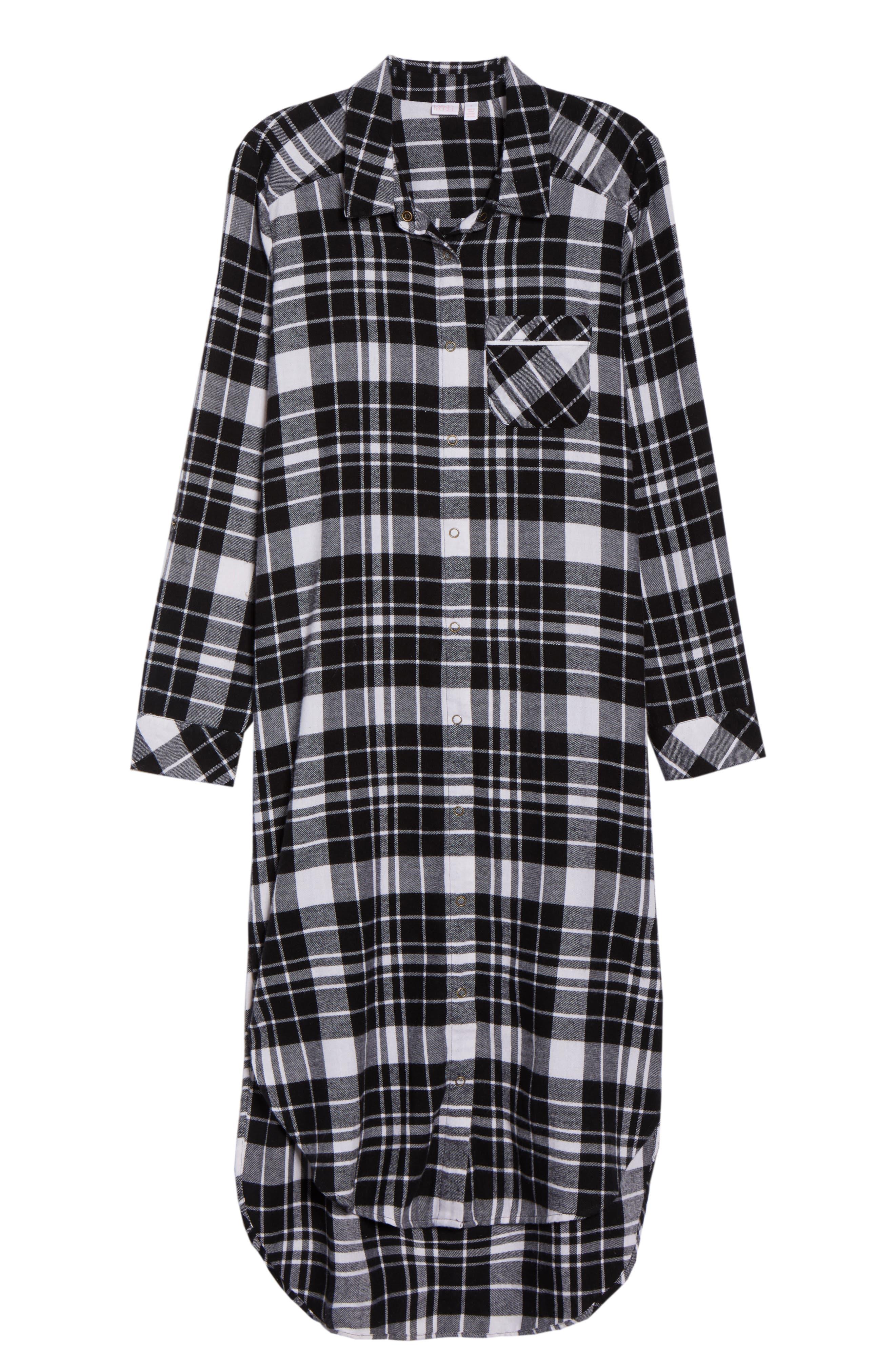 Flannel Midi Sleep Shirt,                             Alternate thumbnail 7, color,                             BLACK FLAT TWILL