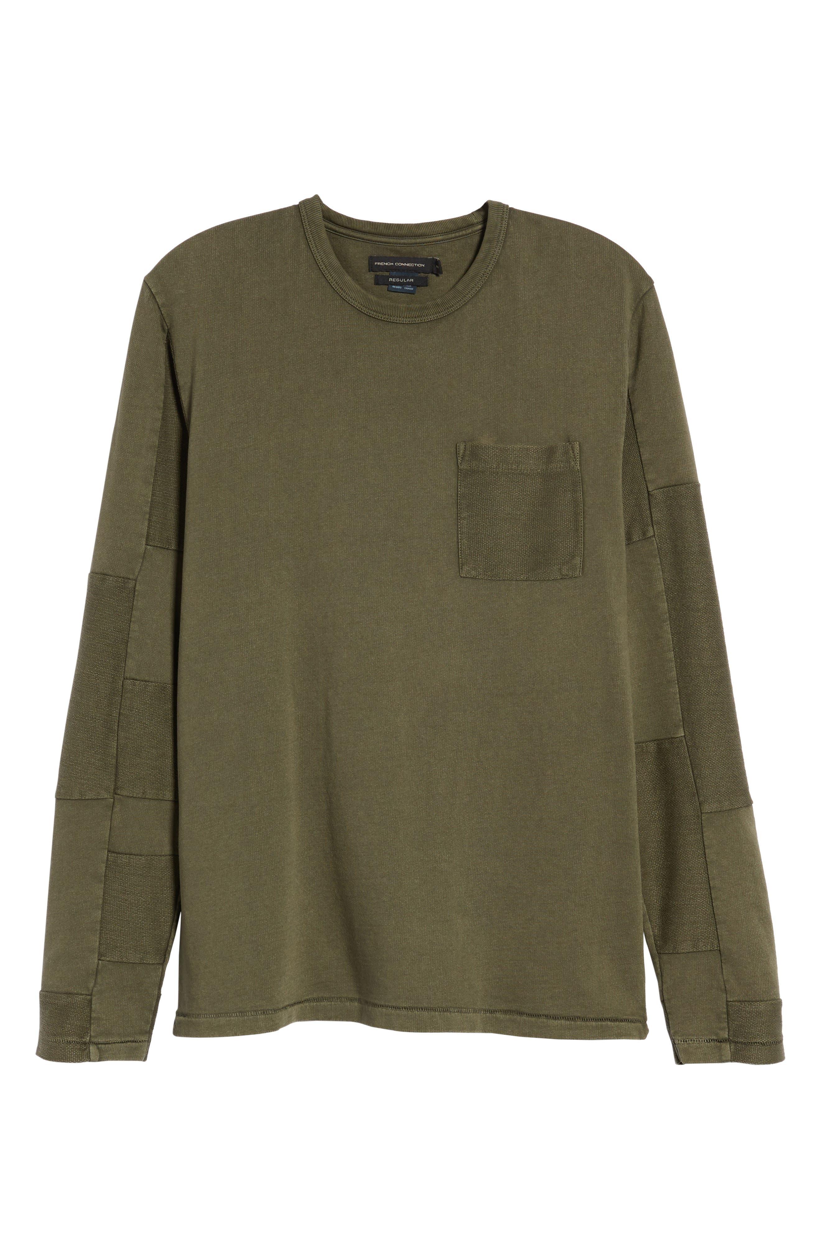 Patchwork Long Sleeve T-Shirt,                             Alternate thumbnail 6, color,                             COMBAT