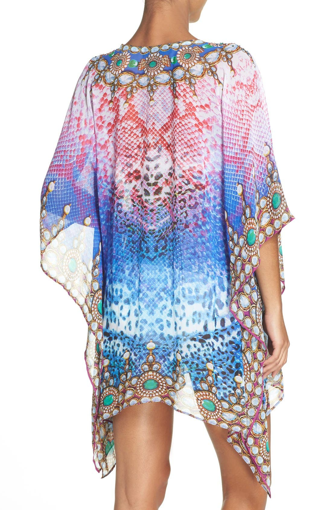 Bora Bora Short Kaftan,                             Alternate thumbnail 4, color,                             MULTI BLUE/ PINK