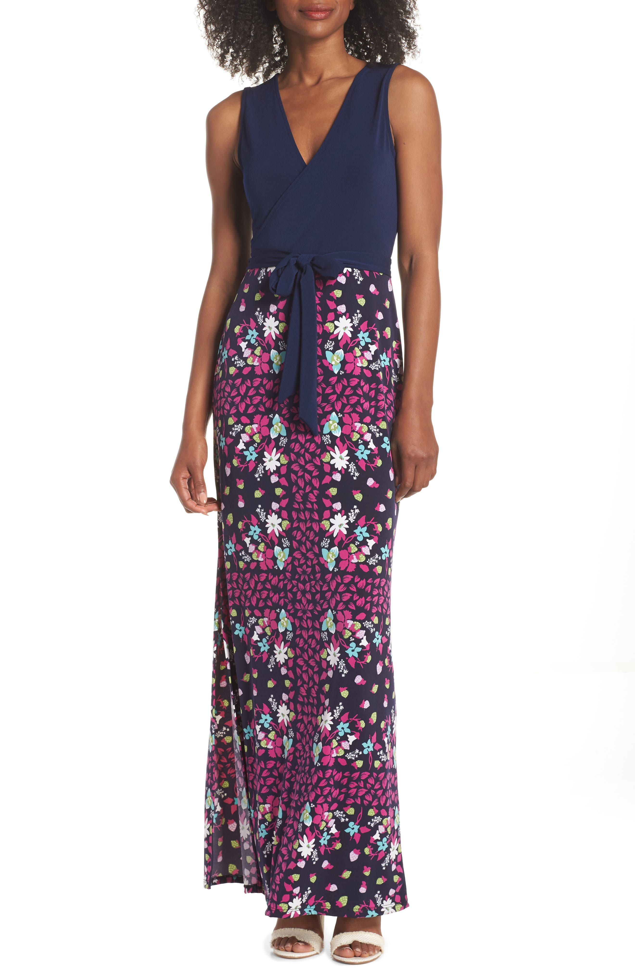 Leota Perfect Faux Wrap Maxi Dress, Blue