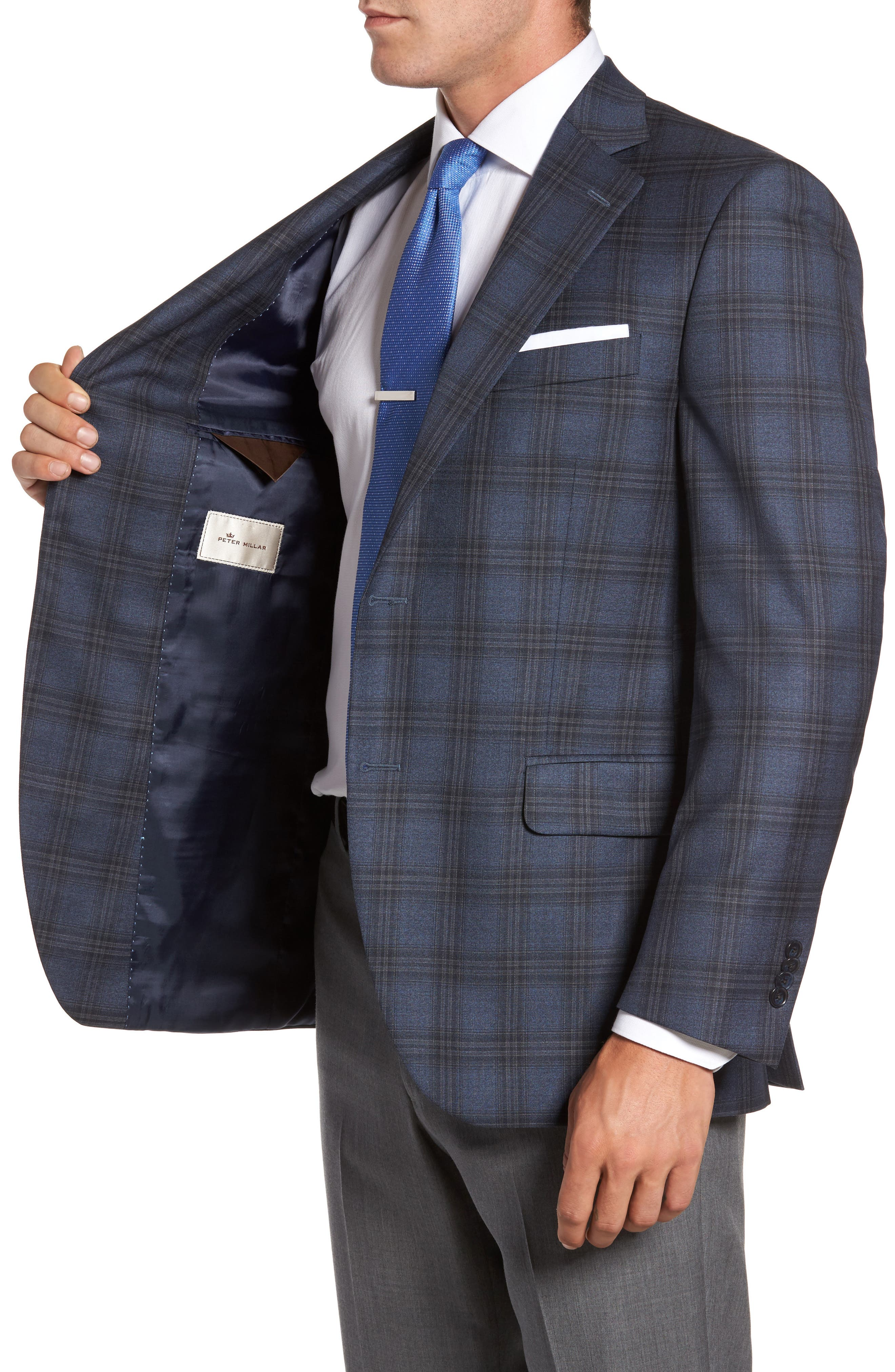 Flynn Classic Fit Plaid Wool Sport Coat,                             Alternate thumbnail 3, color,                             420