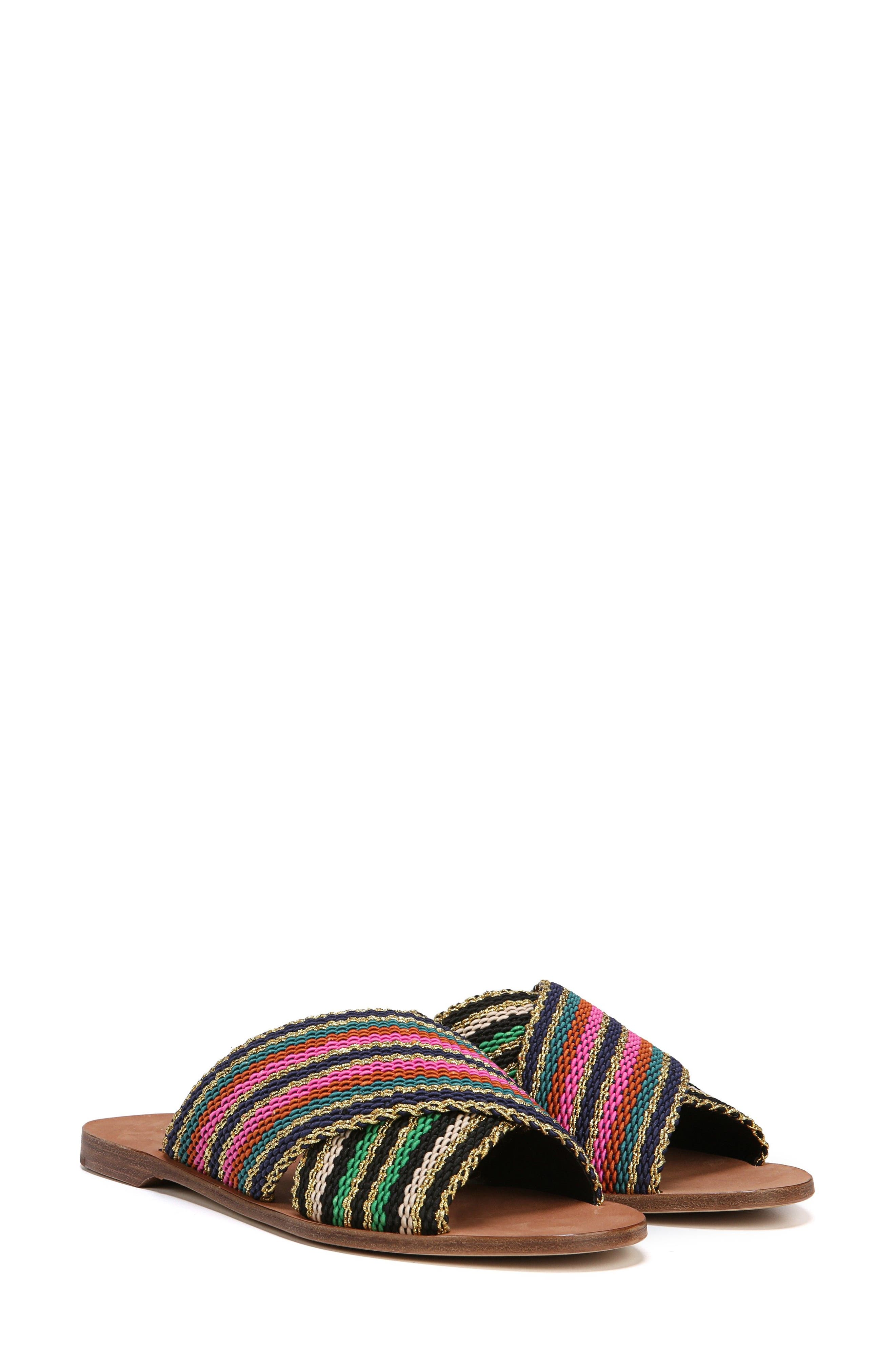 Cindi Woven Slide Sandal,                             Alternate thumbnail 6, color,                             BLACK/ GOLD