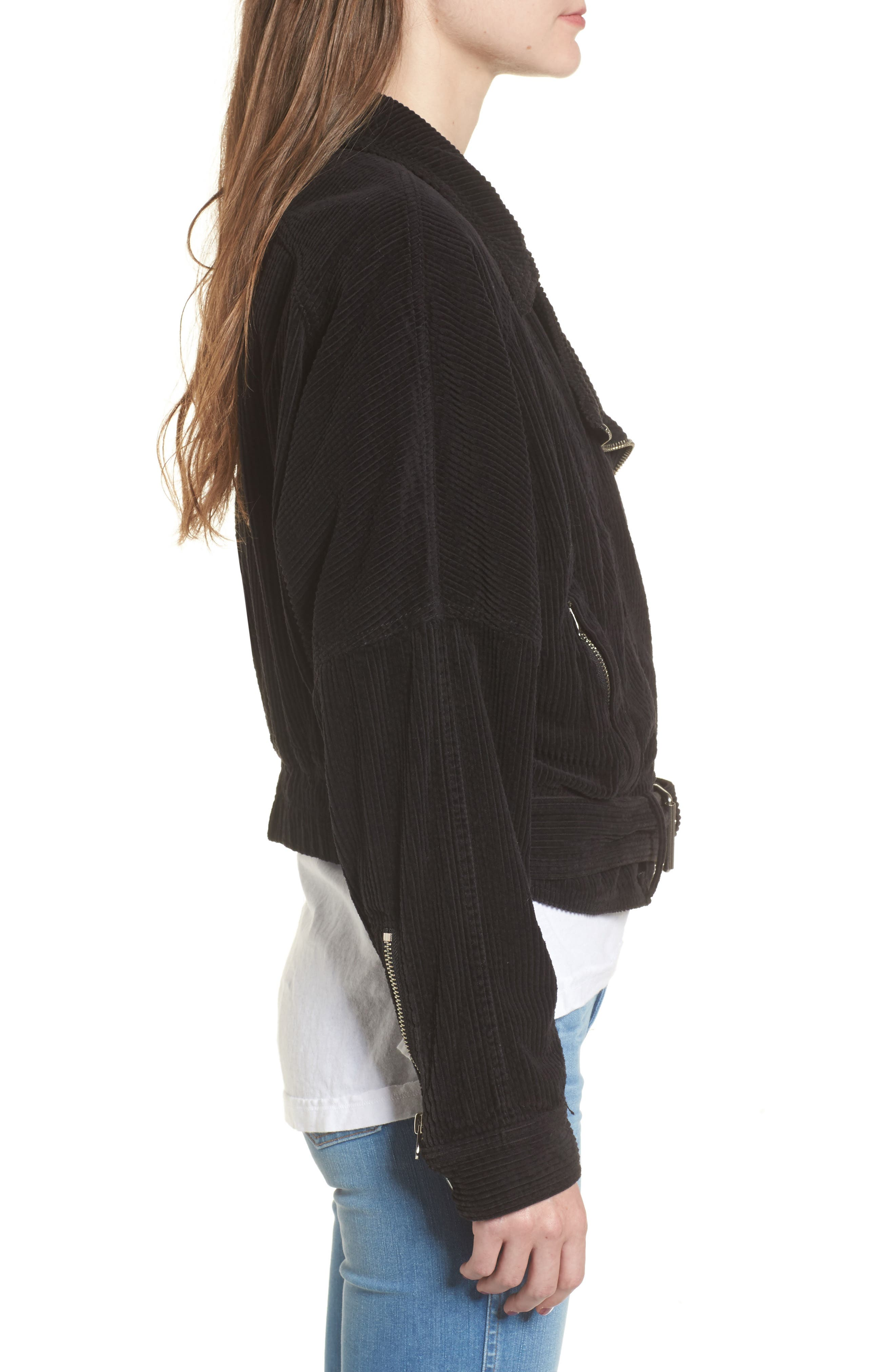 Slouchy Dolman Moto Jacket,                             Alternate thumbnail 3, color,                             001