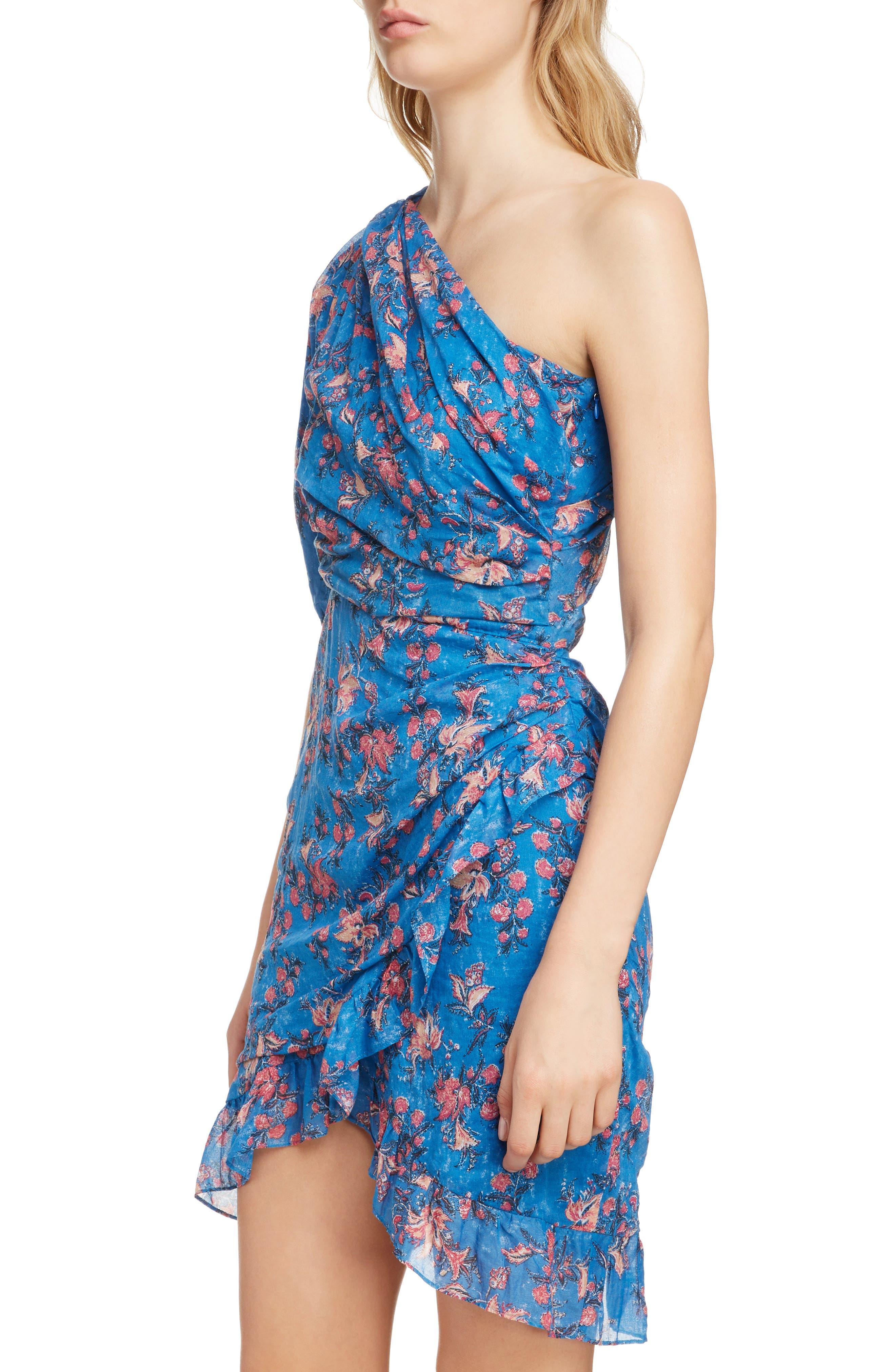 ISABEL MARANT ÉTOILE,                             Esther One-Shoulder Dress,                             Alternate thumbnail 4, color,                             BLUE