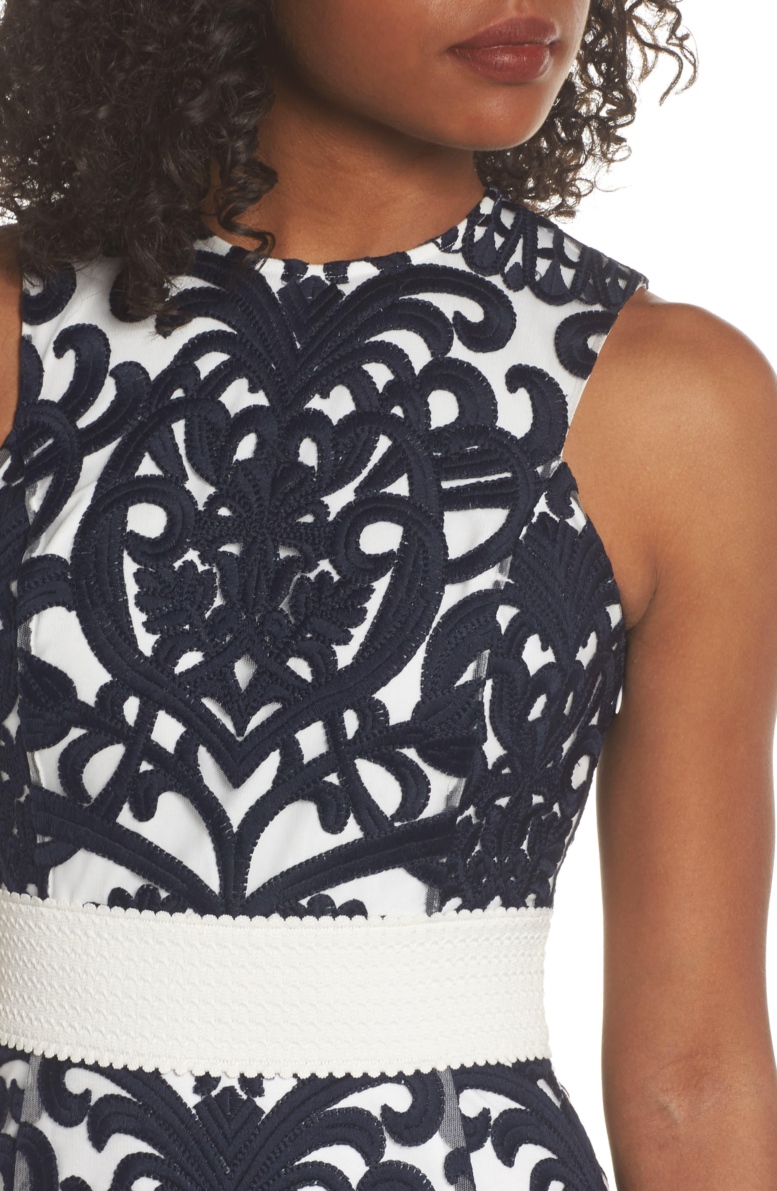 Rosabel Embroidered Midi Dress,                             Alternate thumbnail 4, color,                             410