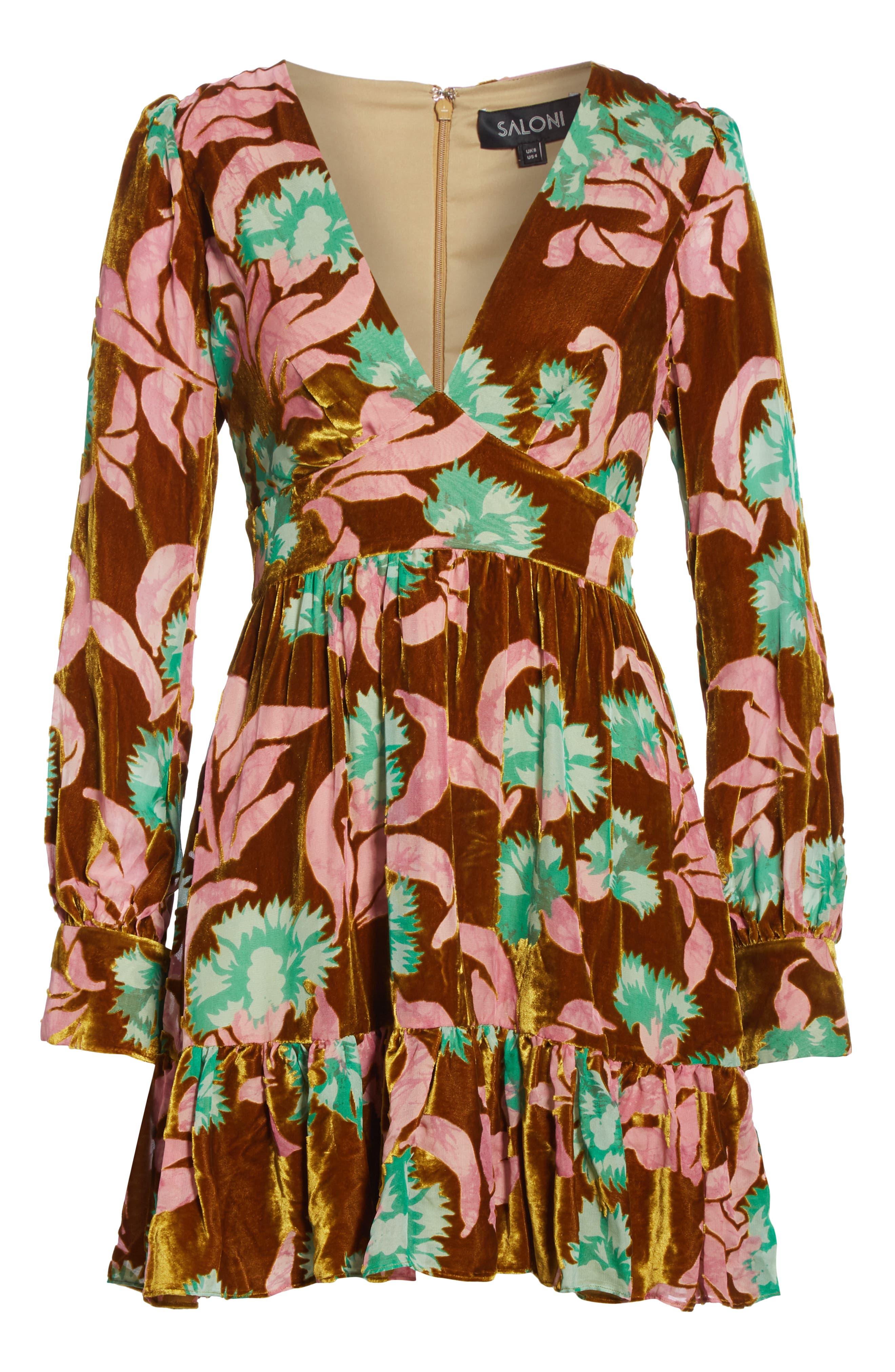 Pia Velvet Devoré Dress,                             Alternate thumbnail 6, color,                             PARADISE AZALEA