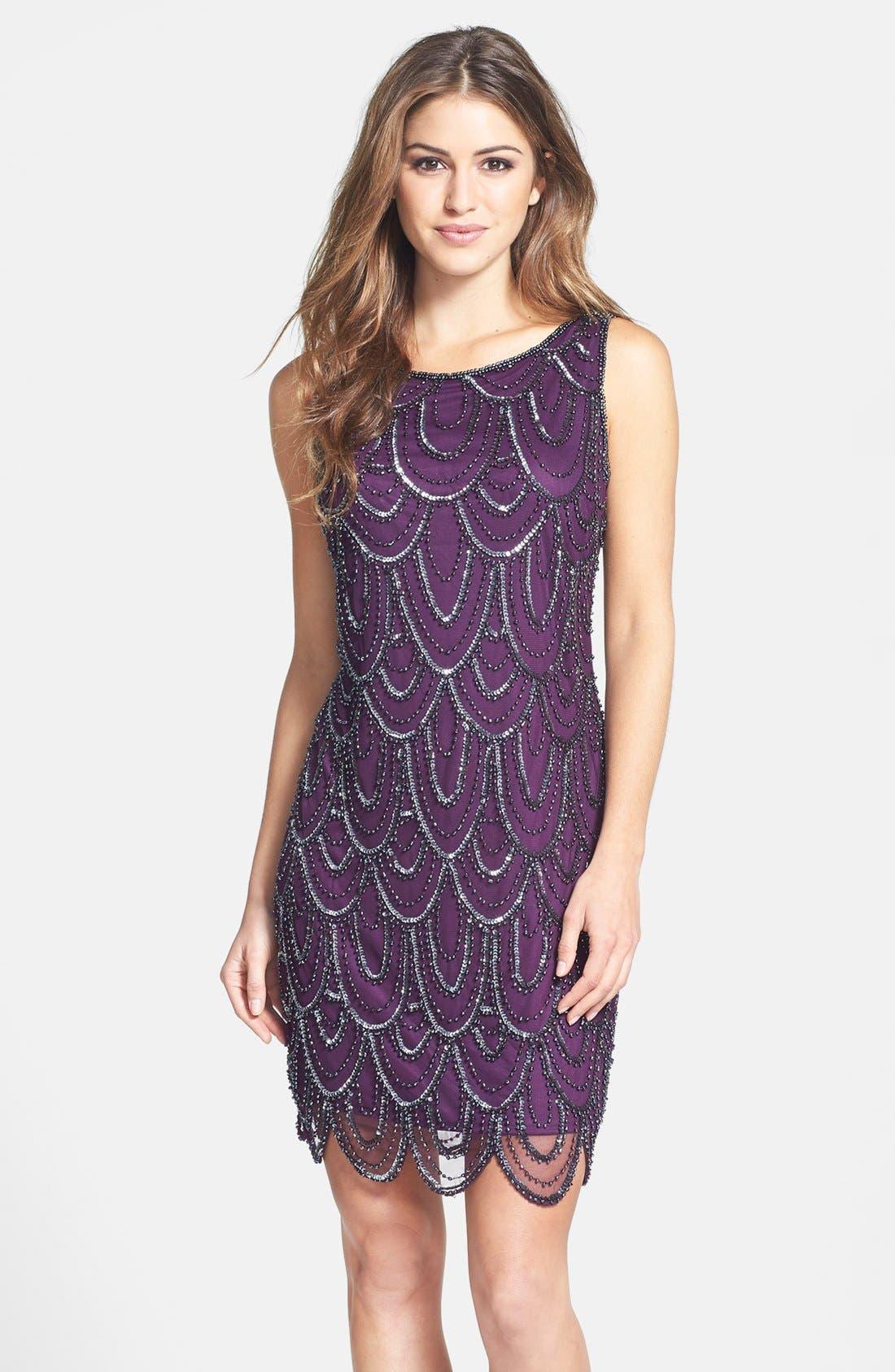 Embellished Mesh Sheath Dress,                             Main thumbnail 6, color,