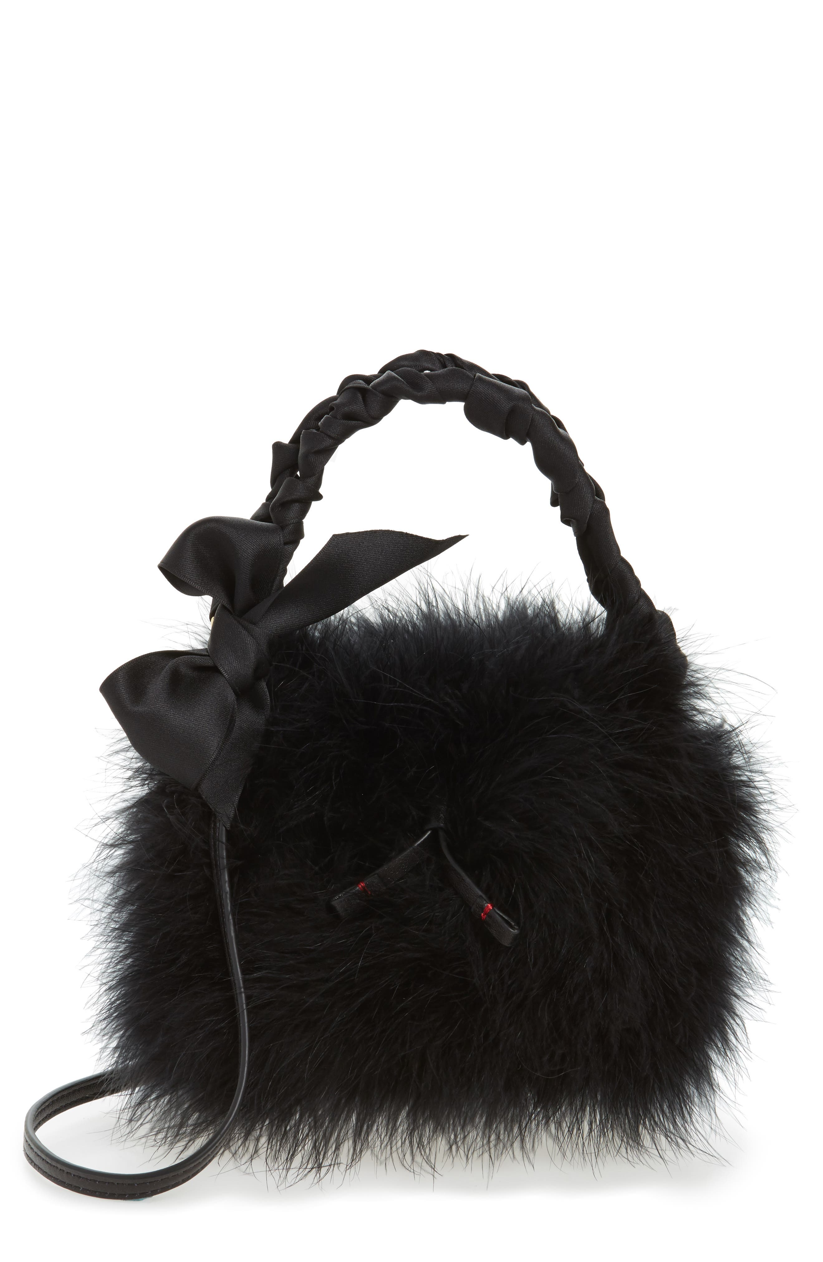 Small Calfskin Leather & Feather Bucket Bag,                         Main,                         color, 001