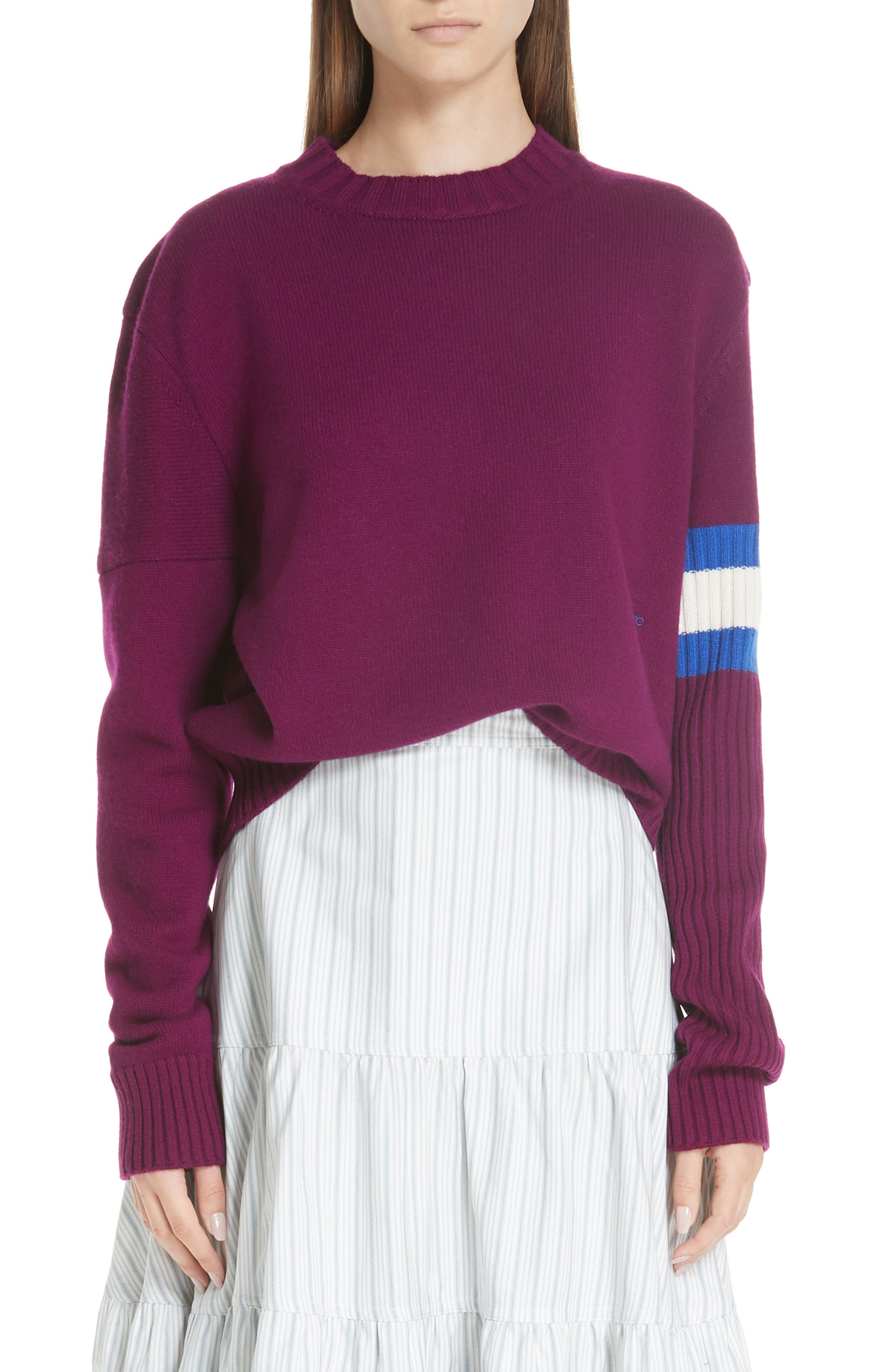Cashmere Stripe Sleeve Sweater,                         Main,                         color, DEEP PURPLE BRIGHT BLUE WHITE