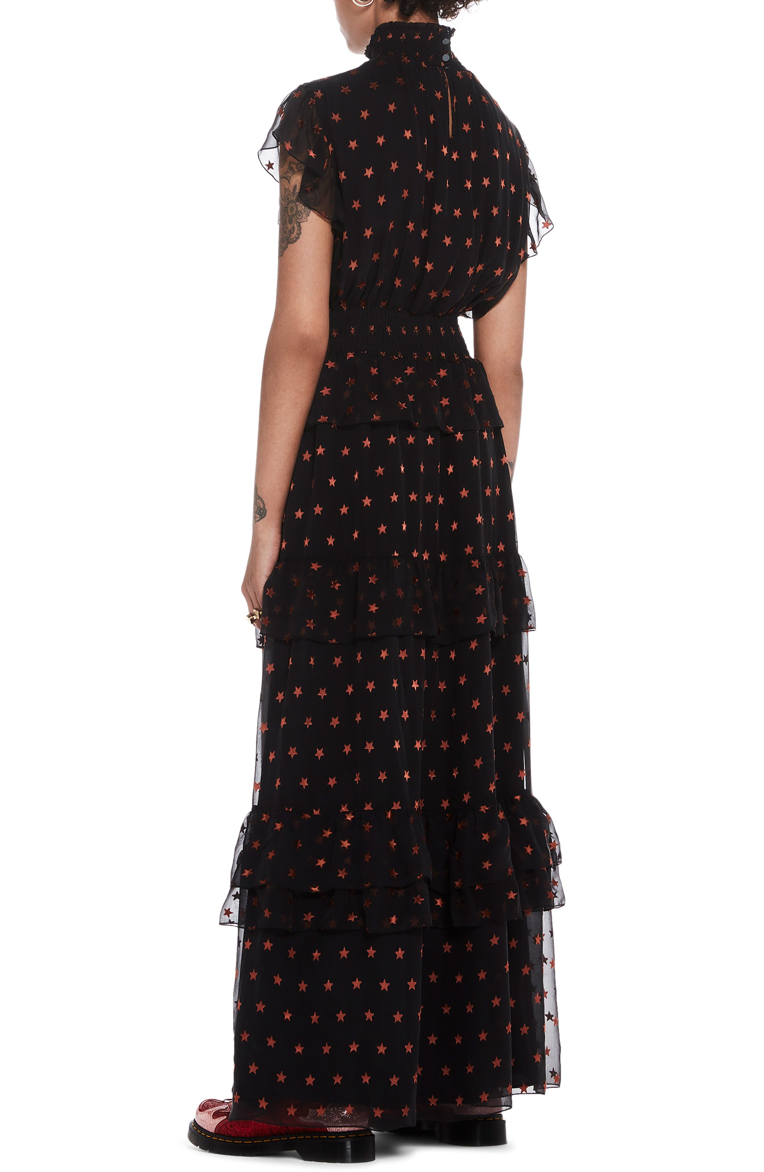 High Neck Silk Blend Maxi Dress,                             Alternate thumbnail 2, color,                             BLACK W/ SMALL STAR PRINT