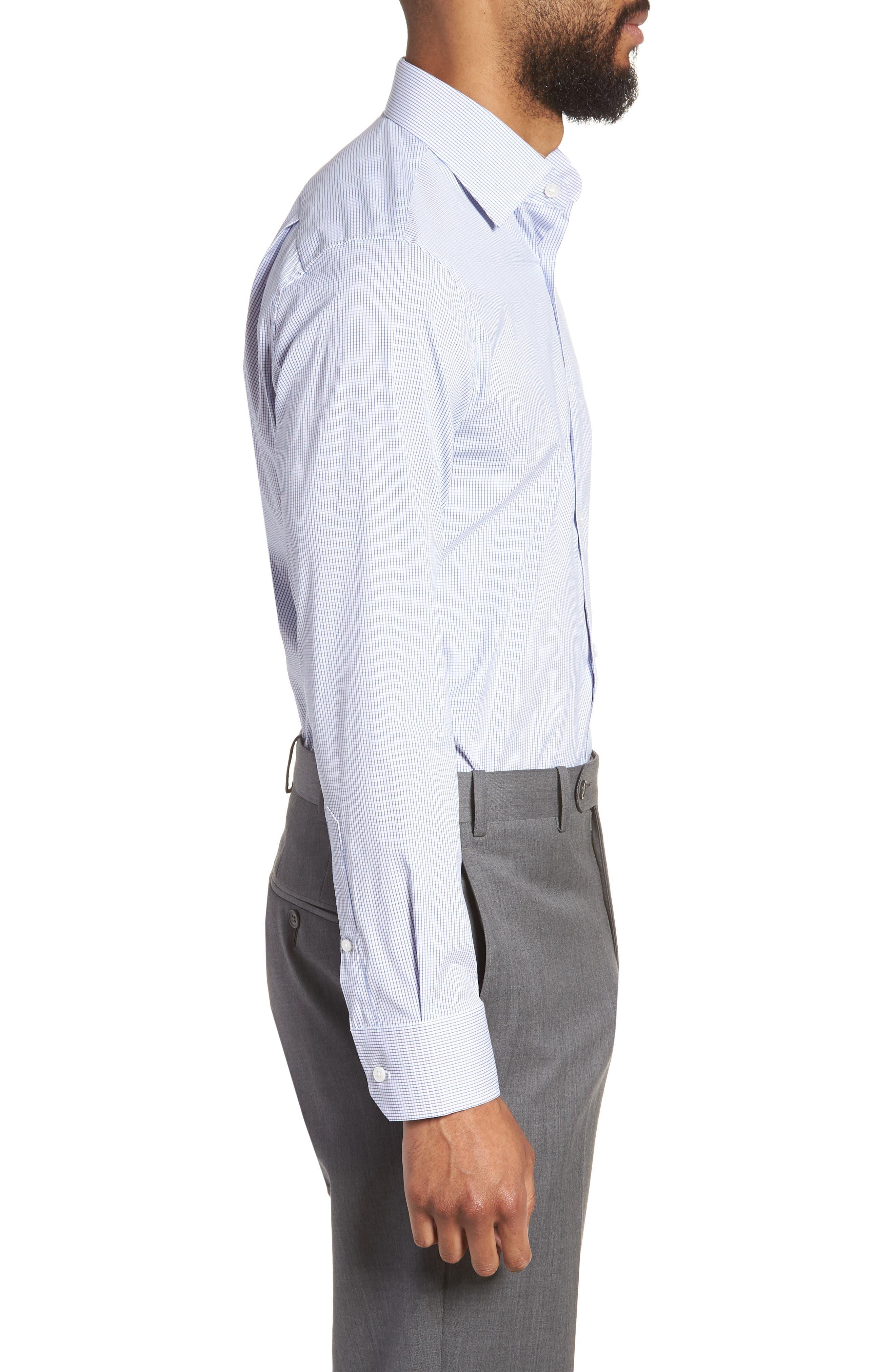 Jetsetter Slim Fit Stretch Check Dress Shirt,                             Alternate thumbnail 4, color,                             NAVY MINI CHECK