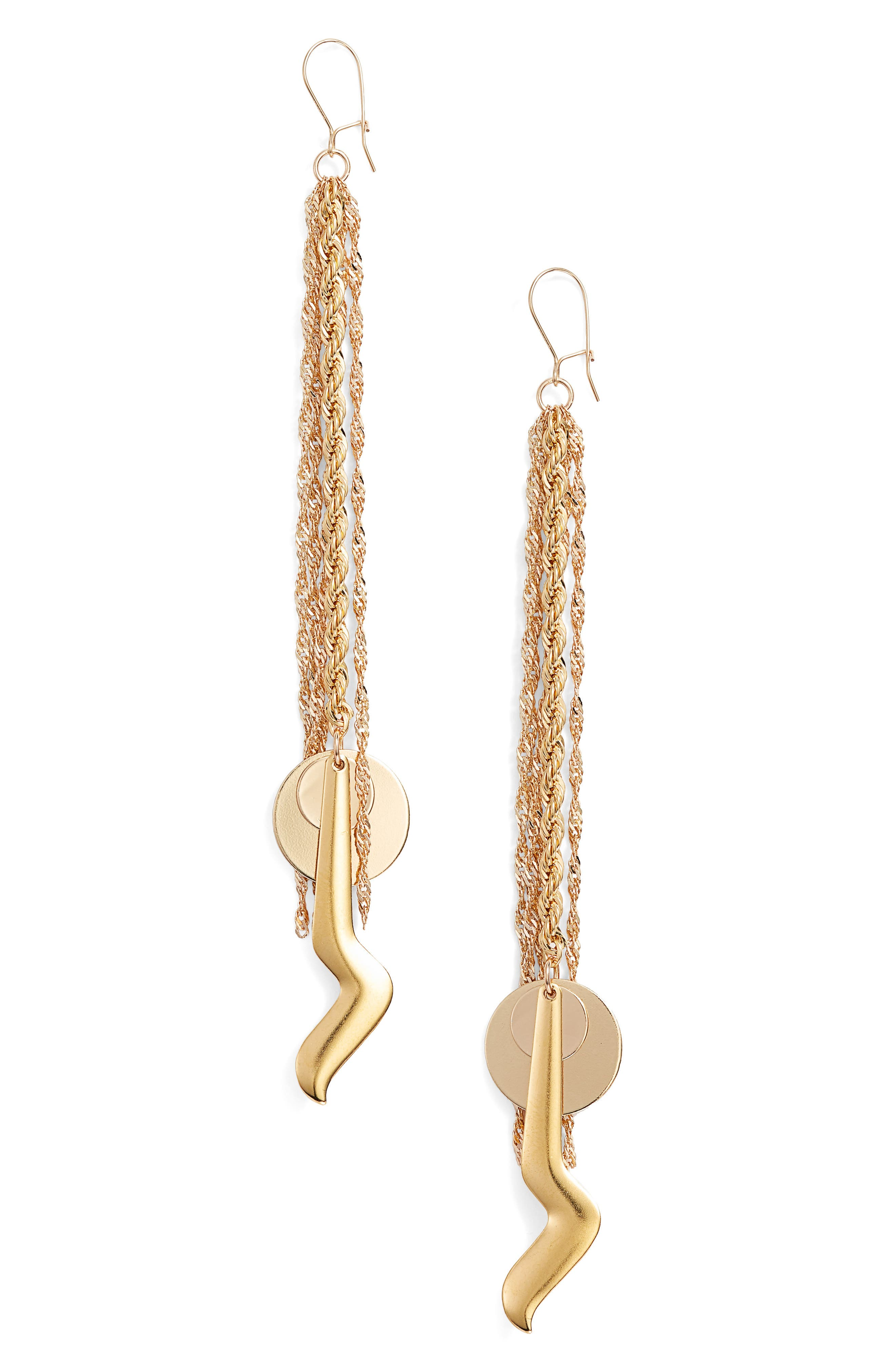 Air Sign Earrings,                         Main,                         color, YELLOW GOLD