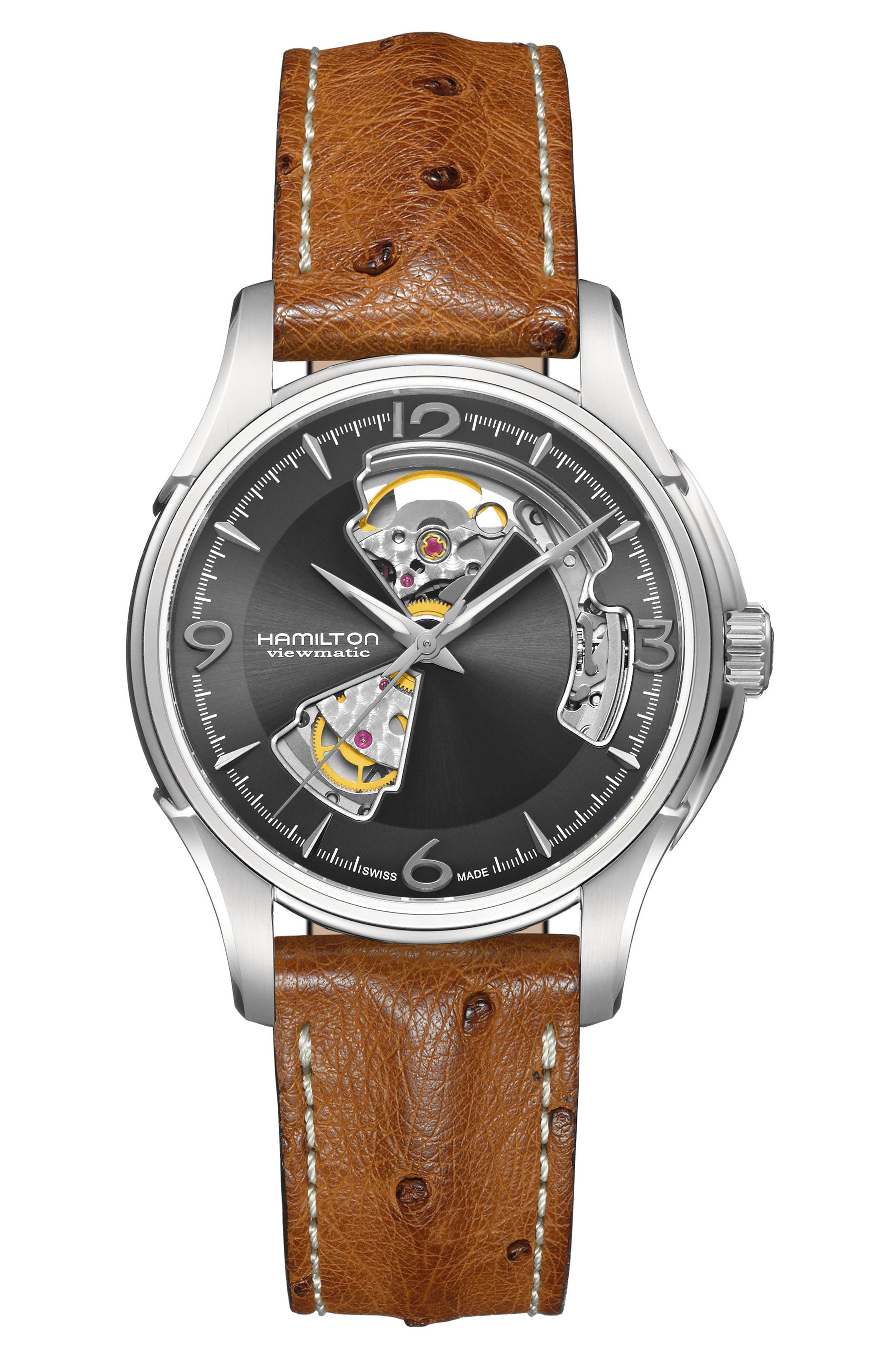 Jazzmaster Open Heart Automatic Ostrich Strap Watch, 40mm,                             Main thumbnail 1, color,                             BROWN/ GREY/ SILVER