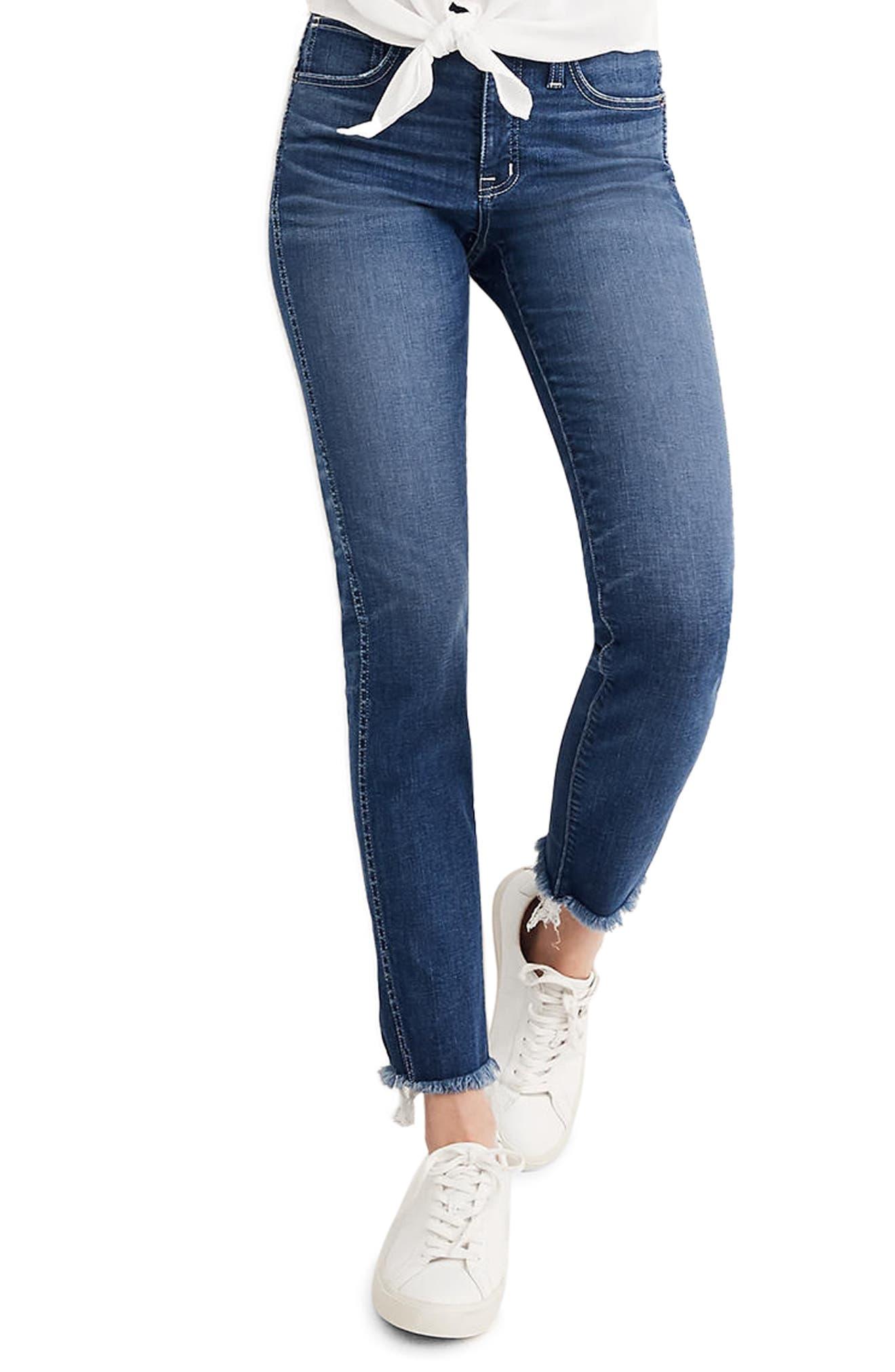 Raw Hem Slim Straight Leg Jeans,                             Main thumbnail 1, color,                             400