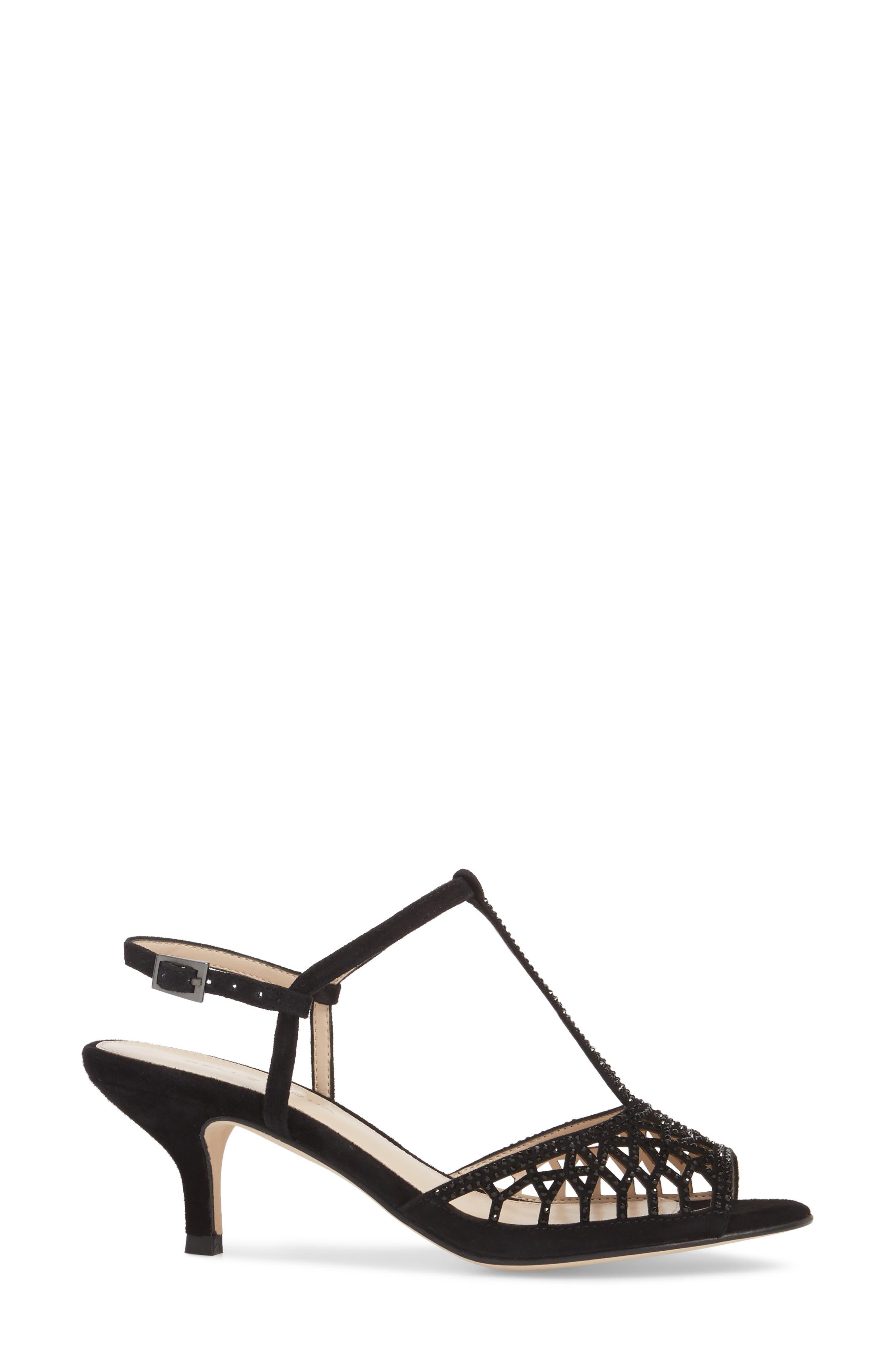 Adaline Embellished Sandal,                             Alternate thumbnail 3, color,                             BLACK SUEDE