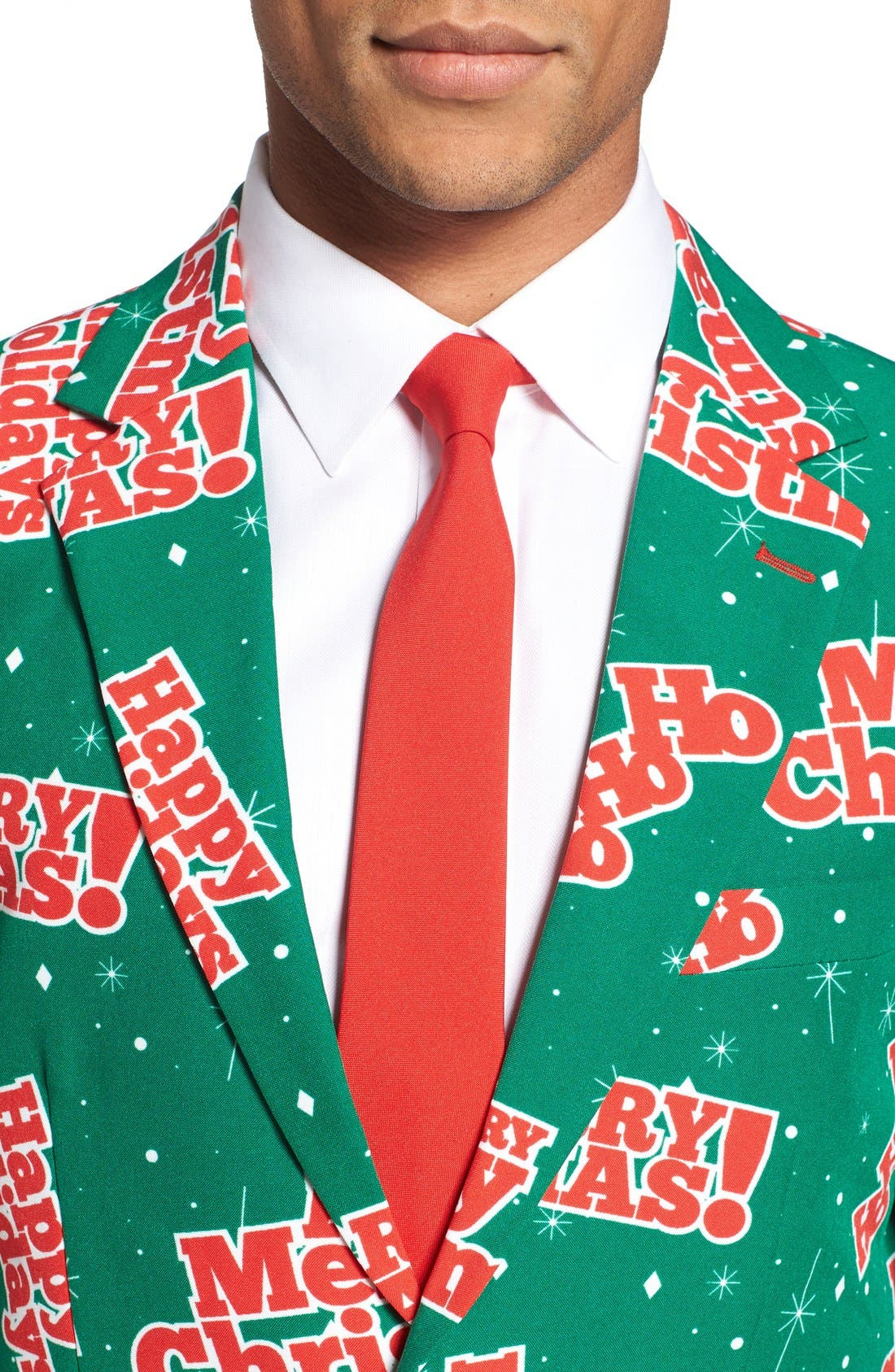 'Happy Holidude' Trim Fit Two-Piece Suit with Tie,                             Alternate thumbnail 4, color,                             301