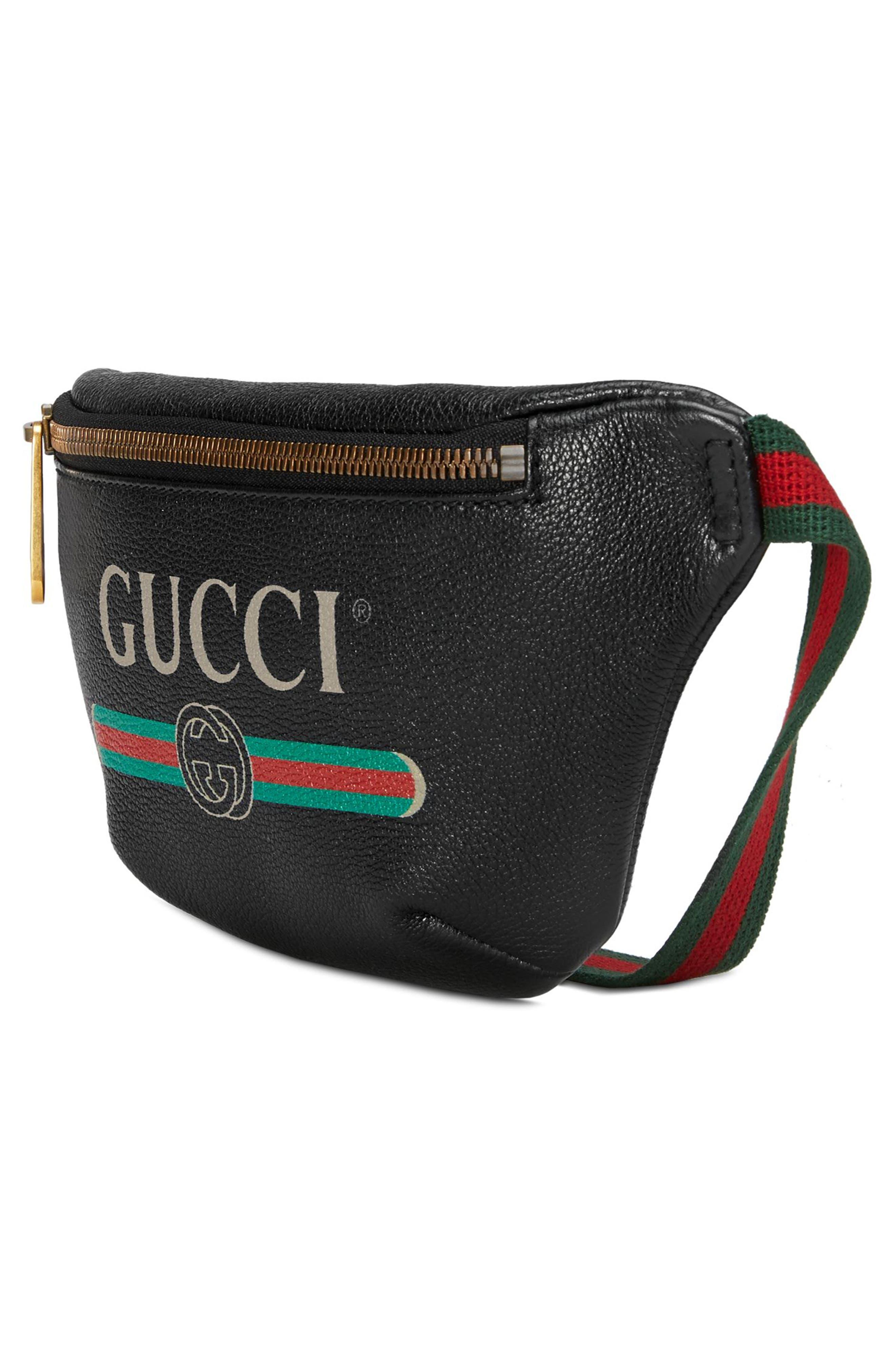 Leather Belt Bag,                             Alternate thumbnail 4, color,                             001