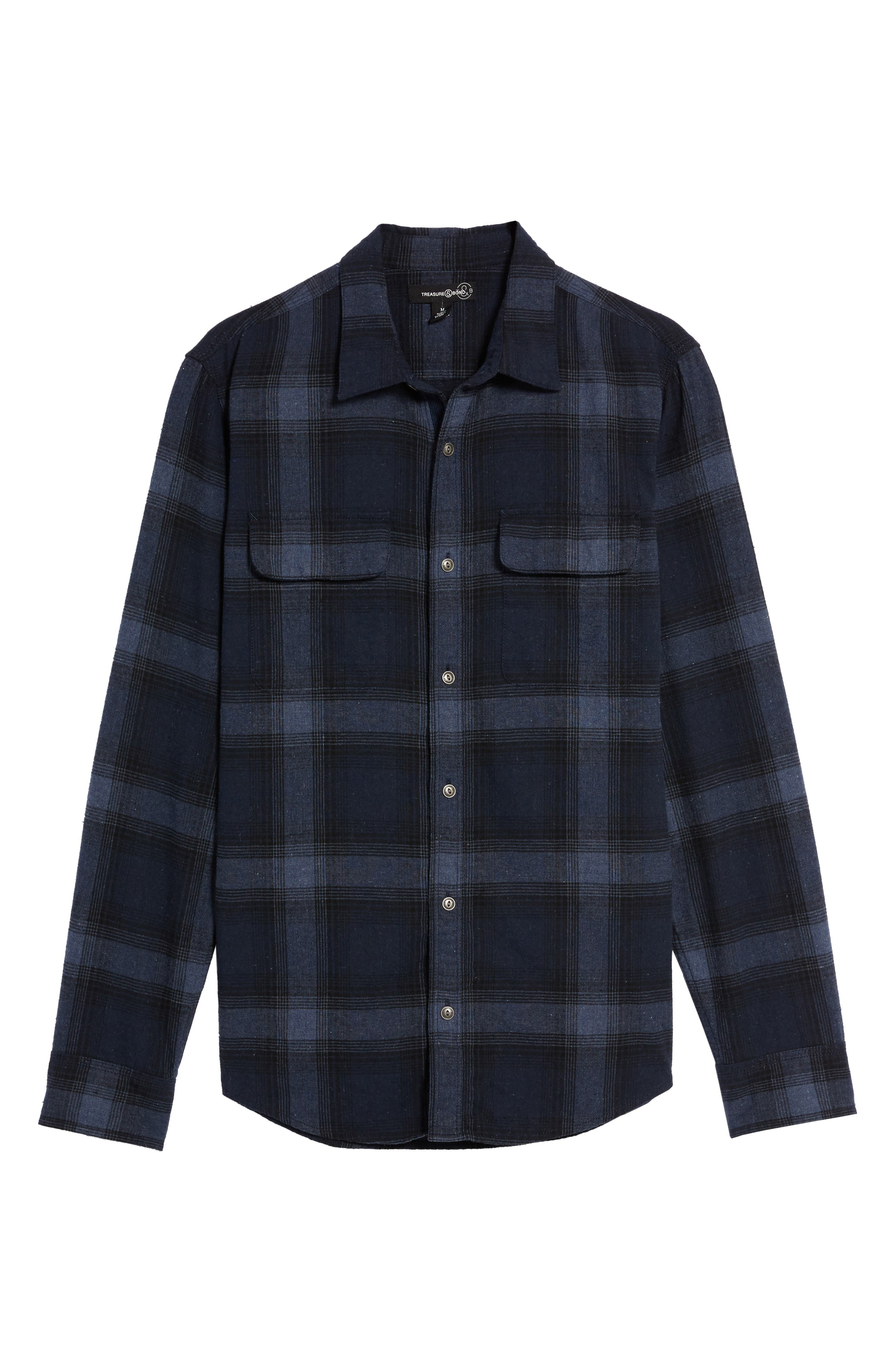 Owen Plaid Flannel Sport Shirt,                             Alternate thumbnail 6, color,                             410
