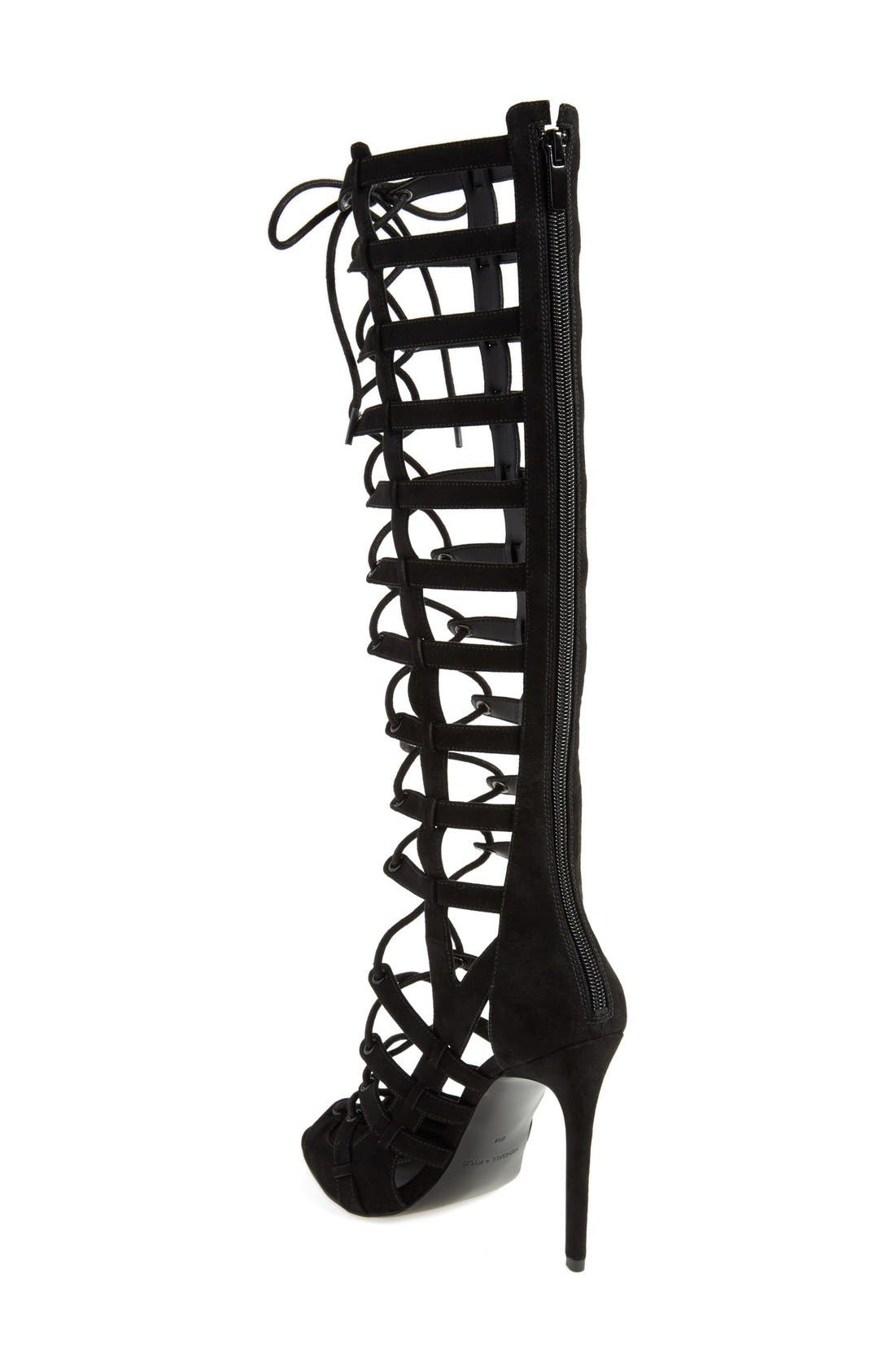 'Emily' Tall Gladiator Sandal,                             Alternate thumbnail 3, color,                             001