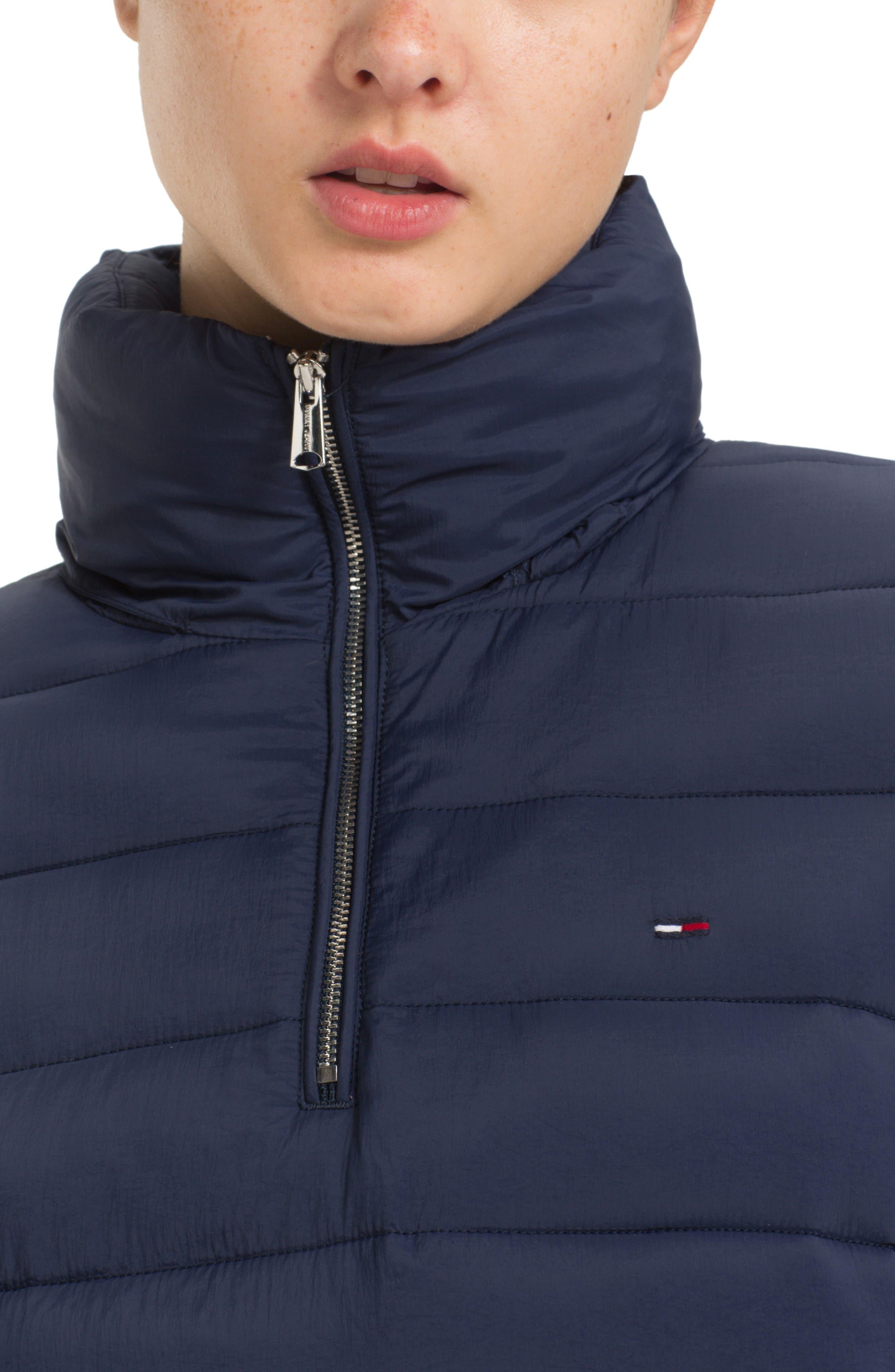 TJW Quilted Half-Zip Puffer Jacket,                             Alternate thumbnail 3, color,                             BLACK IRIS