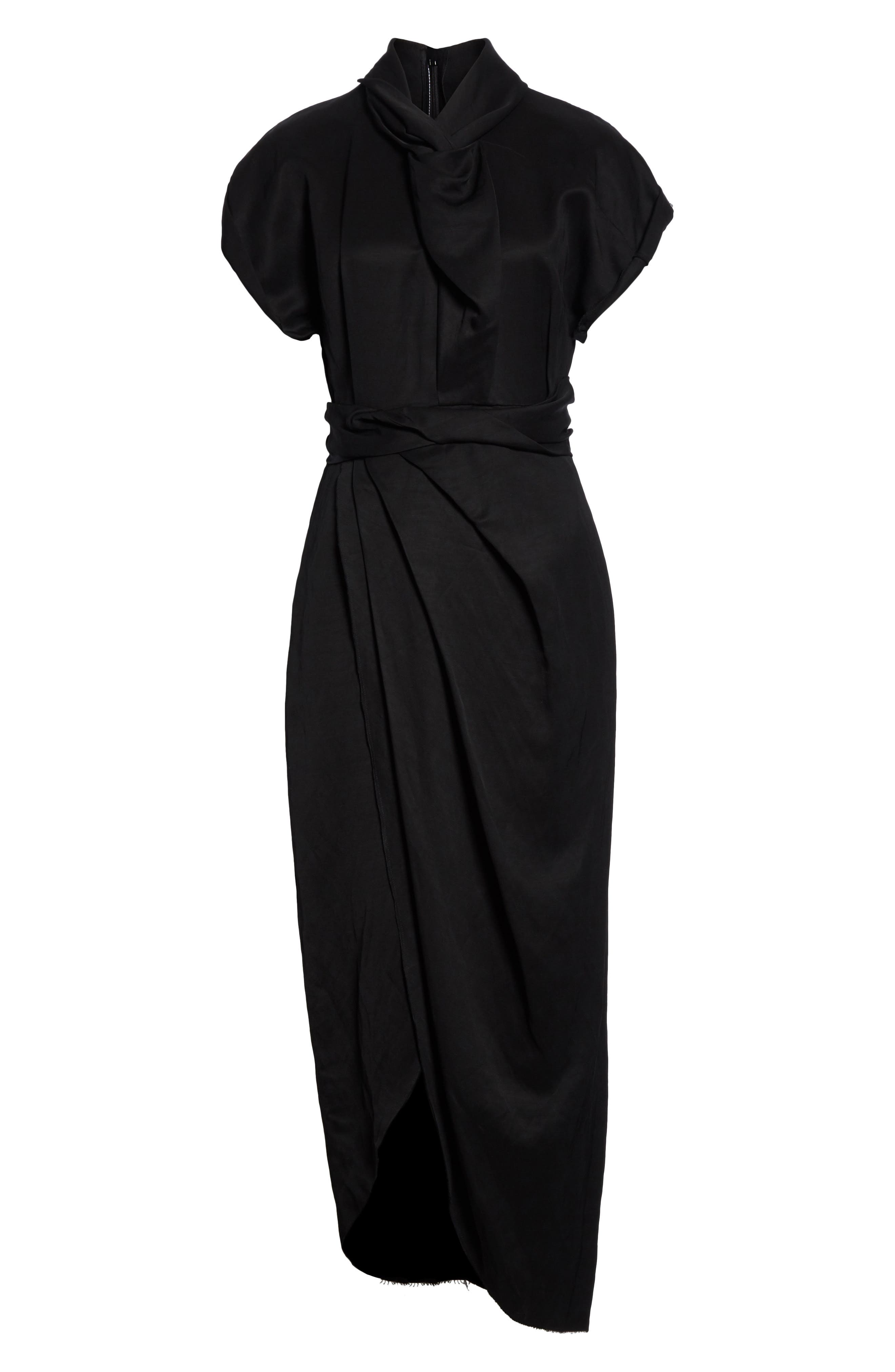 Split Front Gathered Sheath Dress,                             Alternate thumbnail 6, color,                             001