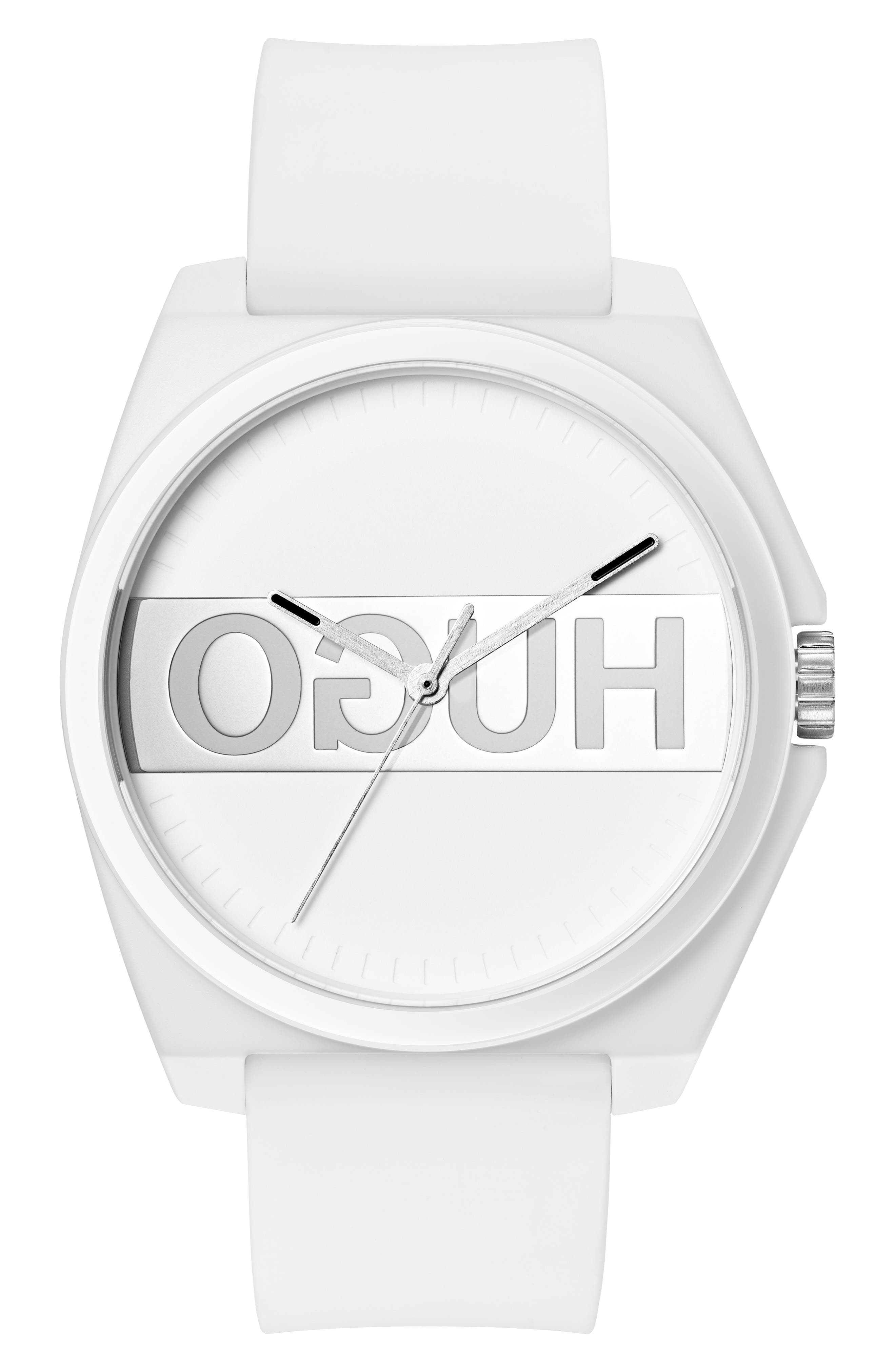 Play Rubber Strap Watch, 40mm,                             Main thumbnail 1, color,                             WHITE