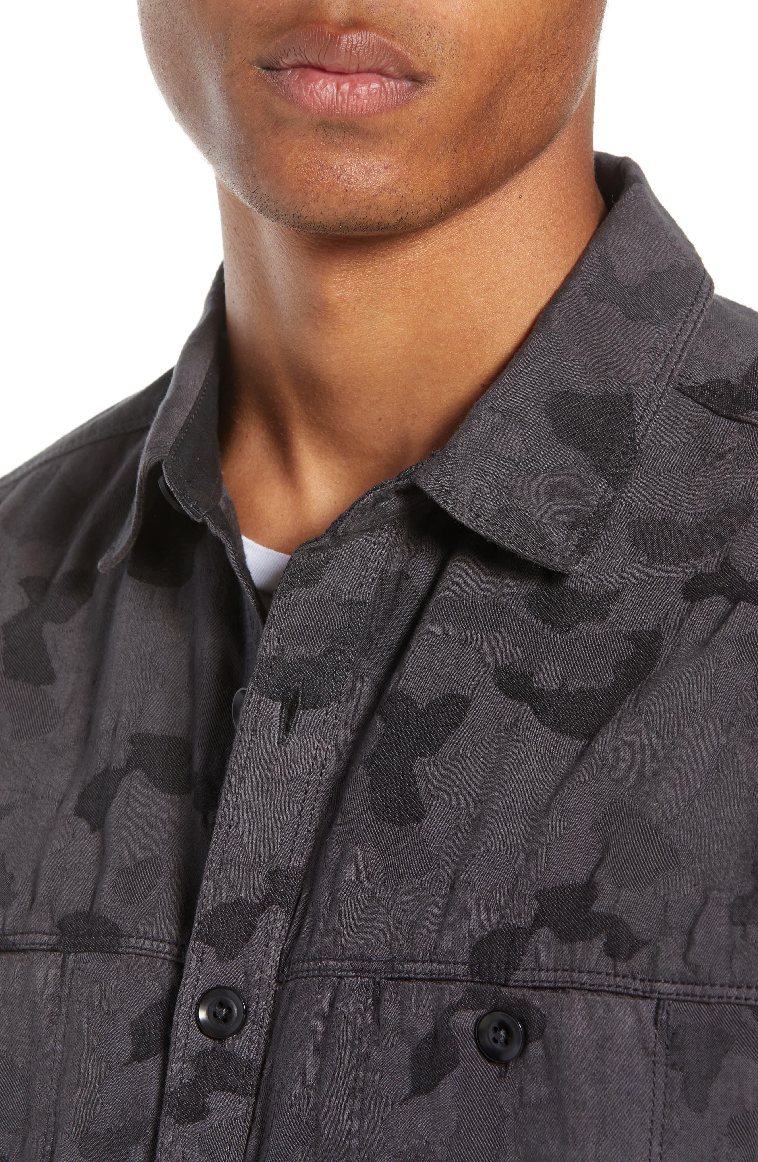 Camouflage Slim Cotton Jacquard Shirt Jacket,                             Alternate thumbnail 2, color,                             060