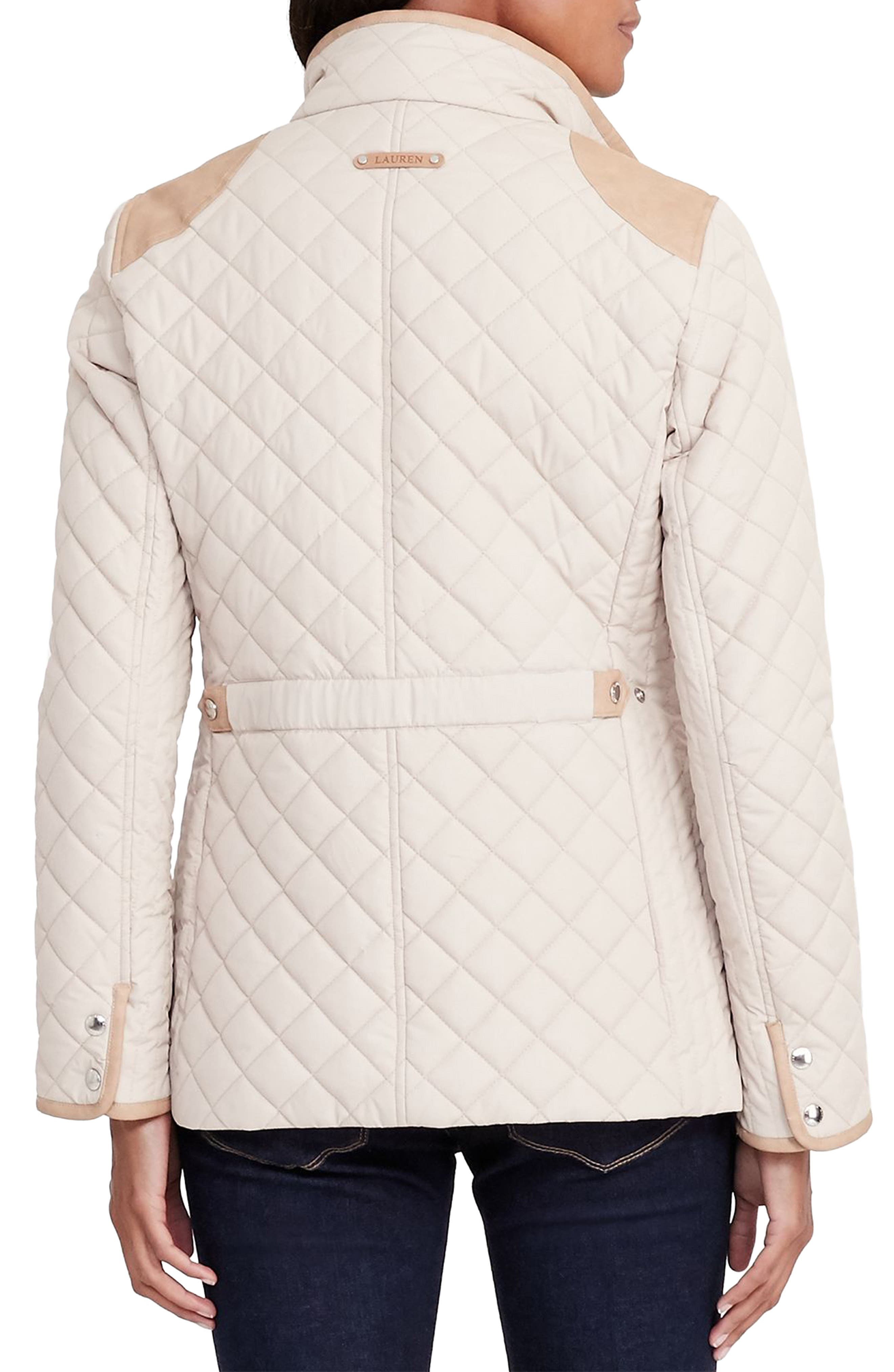 Faux Leather Trim Quilted Jacket,                             Alternate thumbnail 12, color,