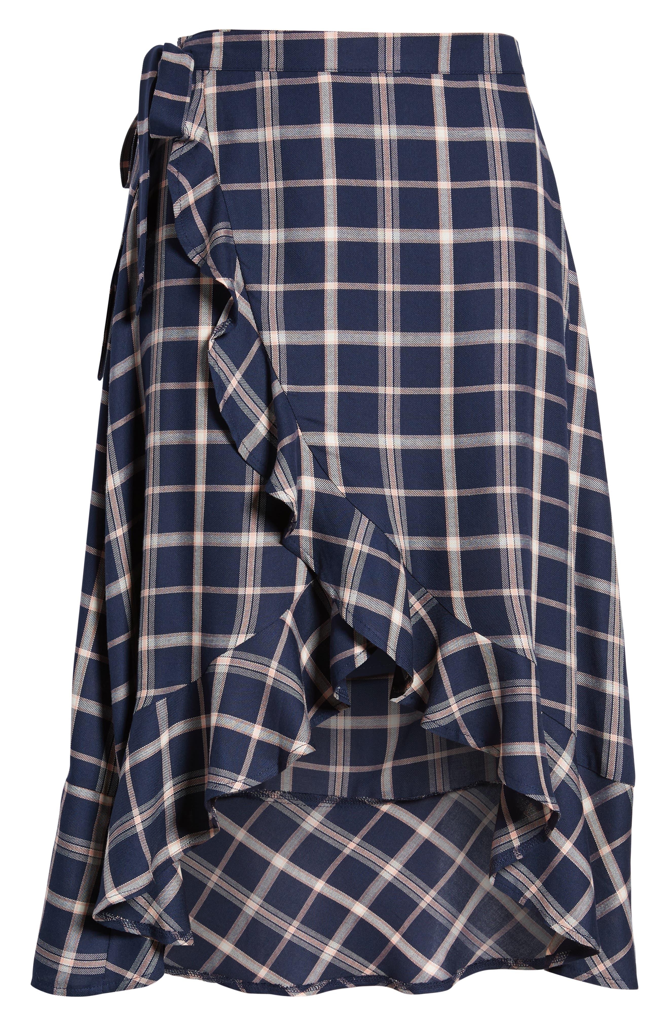 SOMEDAYS LOVIN,                             Plaid Ruffle Wrap Skirt,                             Alternate thumbnail 6, color,                             NAVY