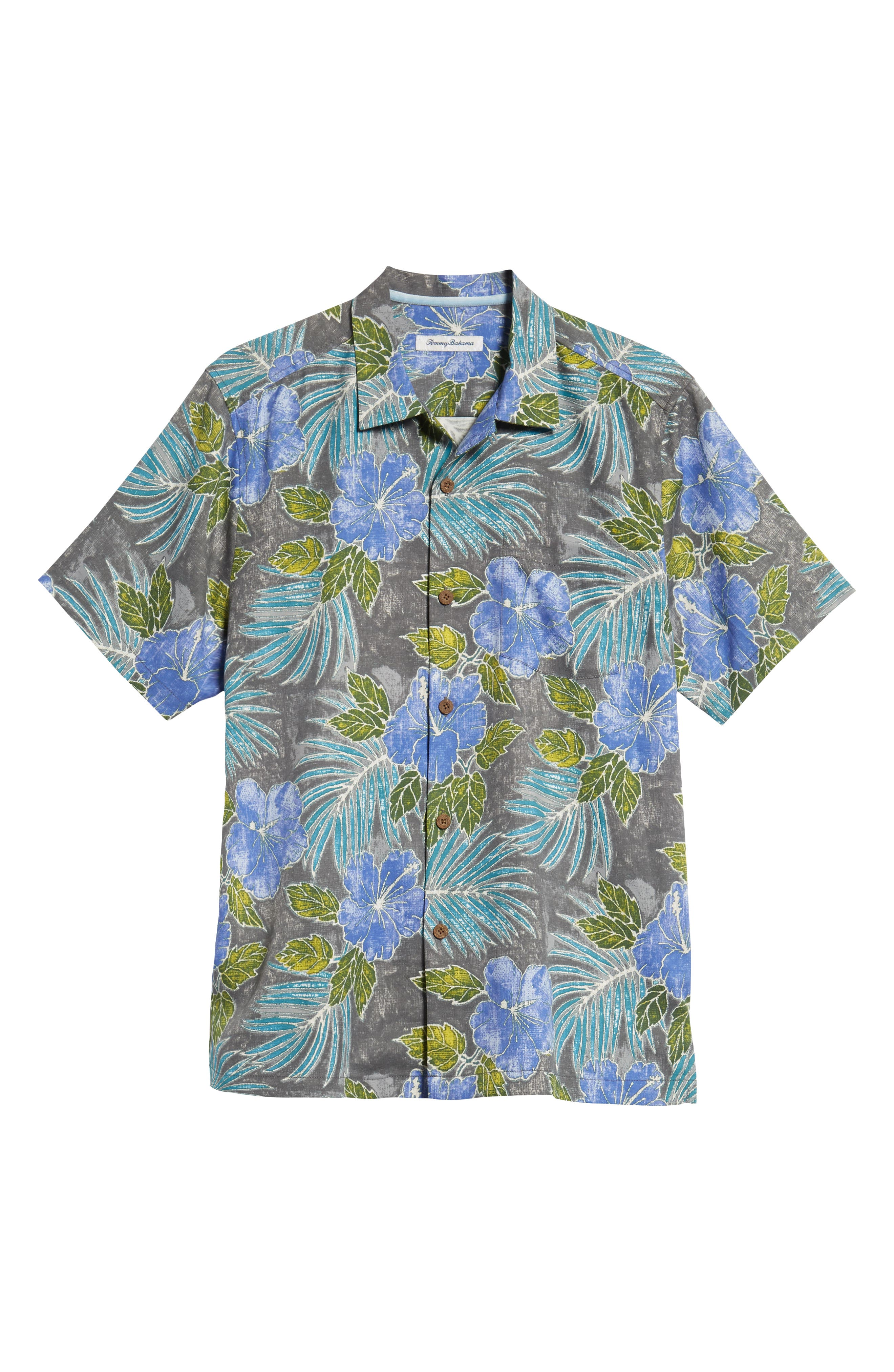 Hibiscus Cove Short Sleeve Silk Blend Sport Shirt,                             Alternate thumbnail 5, color,                             ONYX