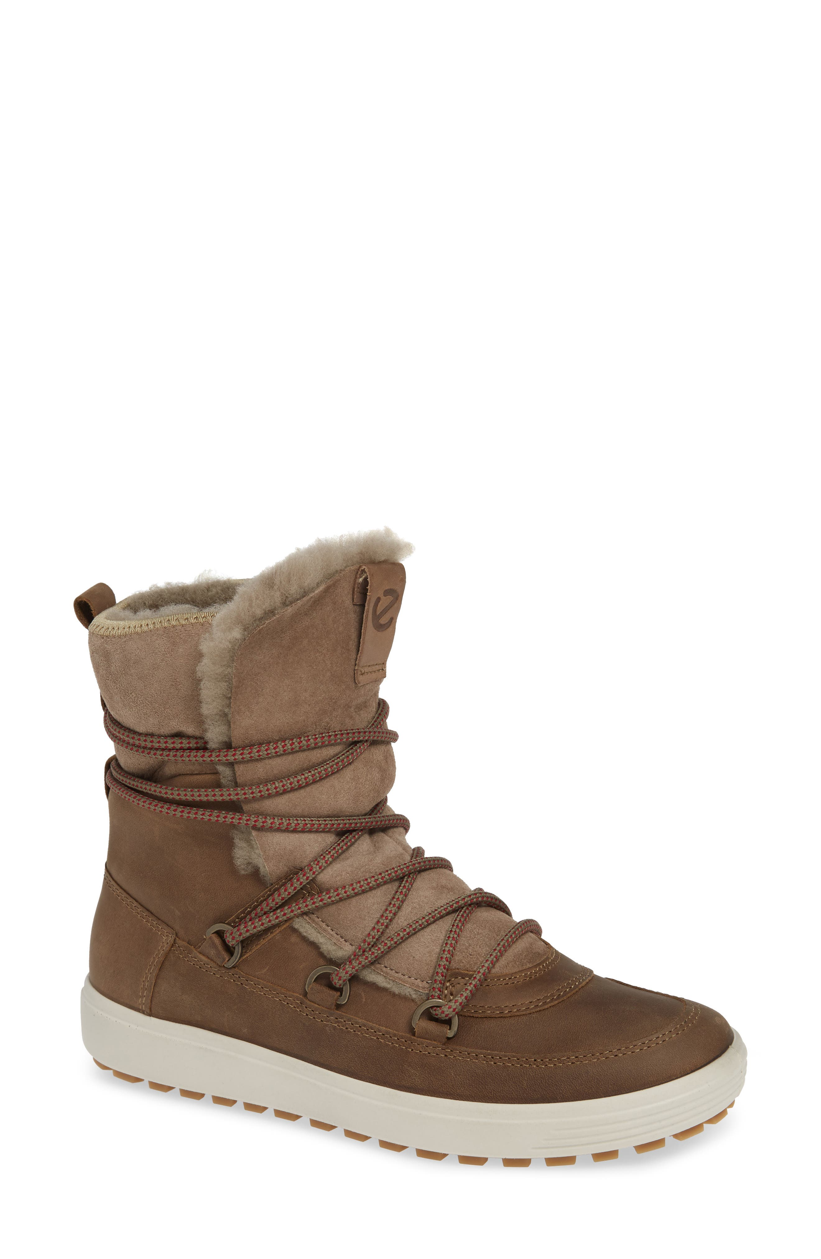 Ecco Soft 7 Tred Waterproof Genuine Shearling Lined Bootie, Brown