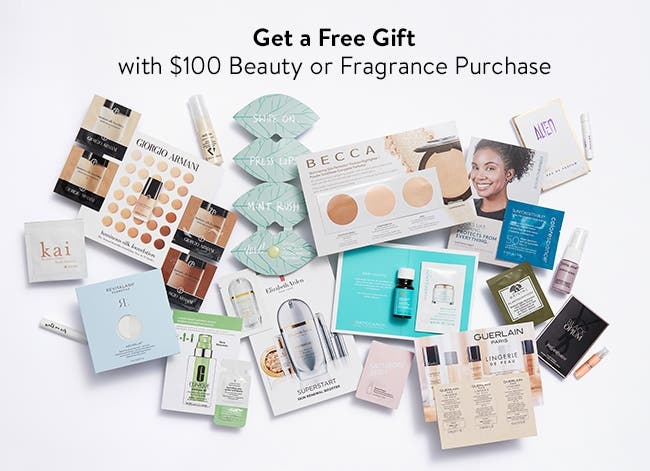 Free gift with $100 beauty or fragrance purchase.