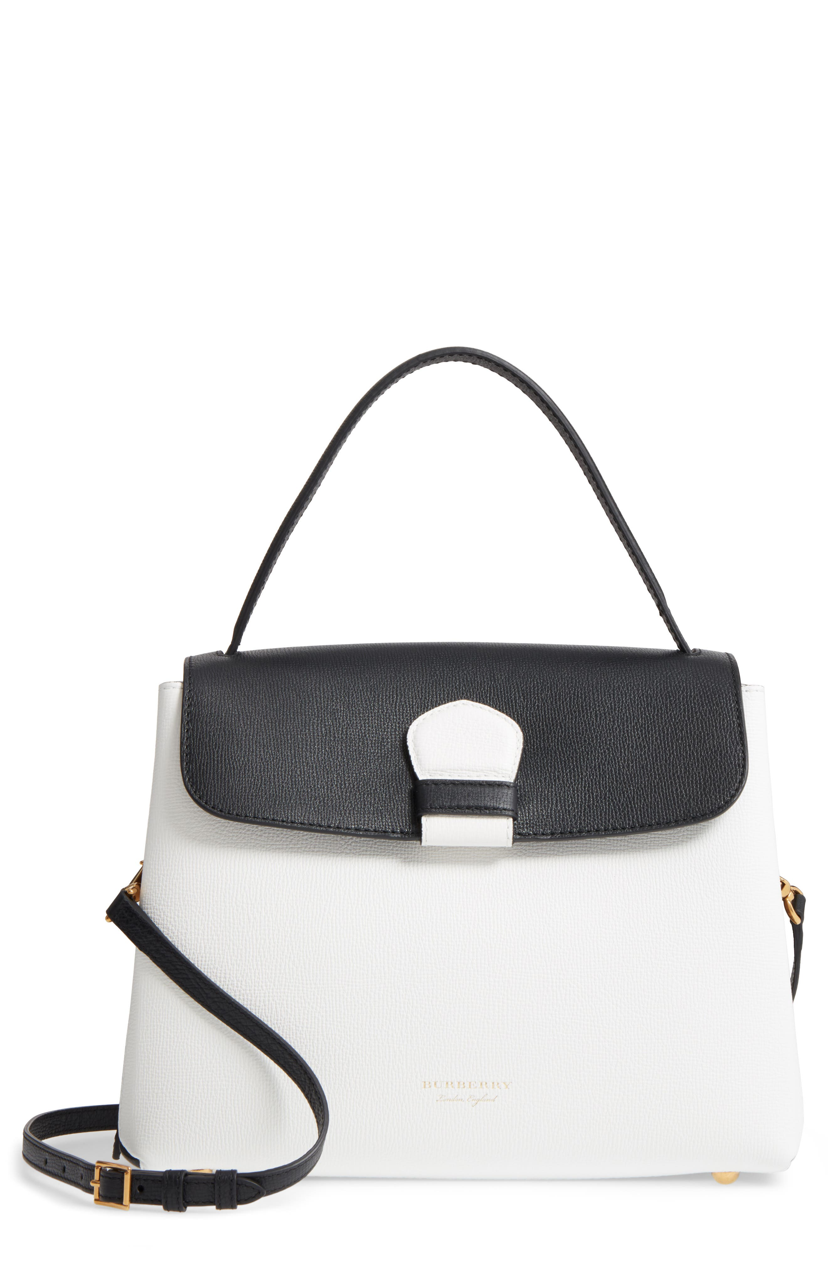 Medium Camberley Colorblock Leather & House Check Top Handle Satchel,                         Main,                         color, WHITE/ BLACK