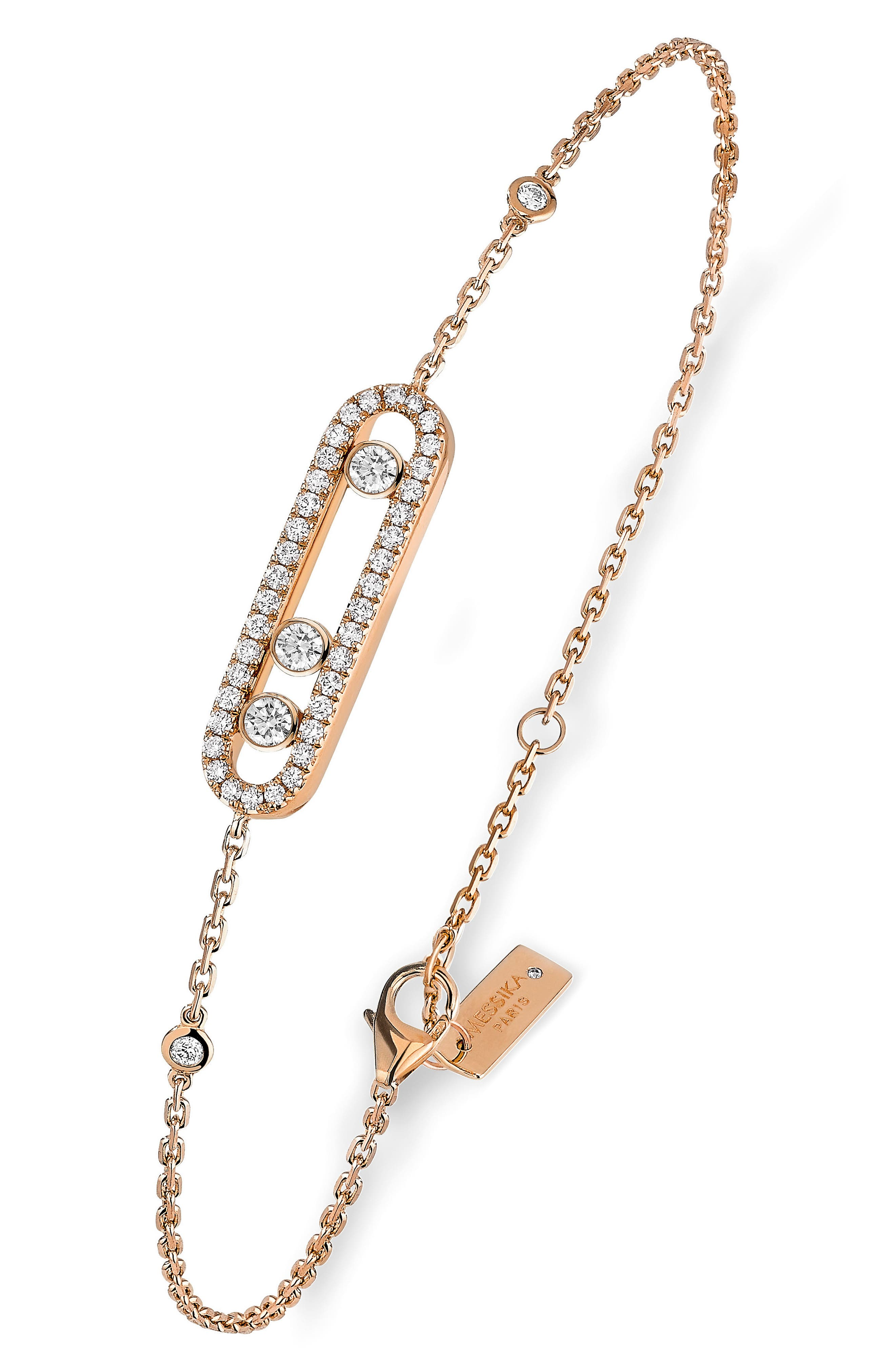 Baby Pavé Move Diamond Bracelet,                             Main thumbnail 1, color,                             ROSE GOLD