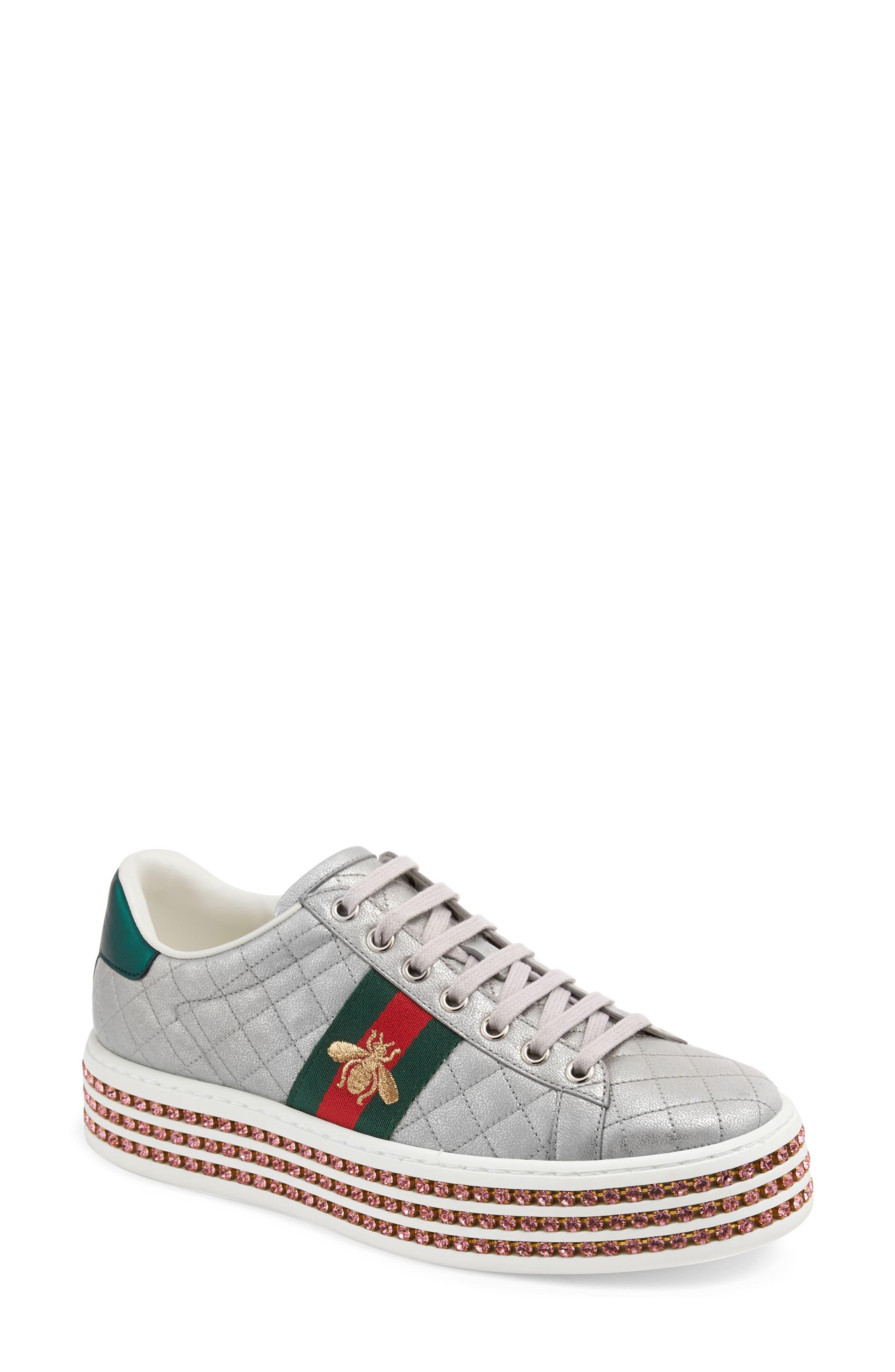 New Ace Platform Sneaker,                         Main,                         color, ARGENTO LEATHER