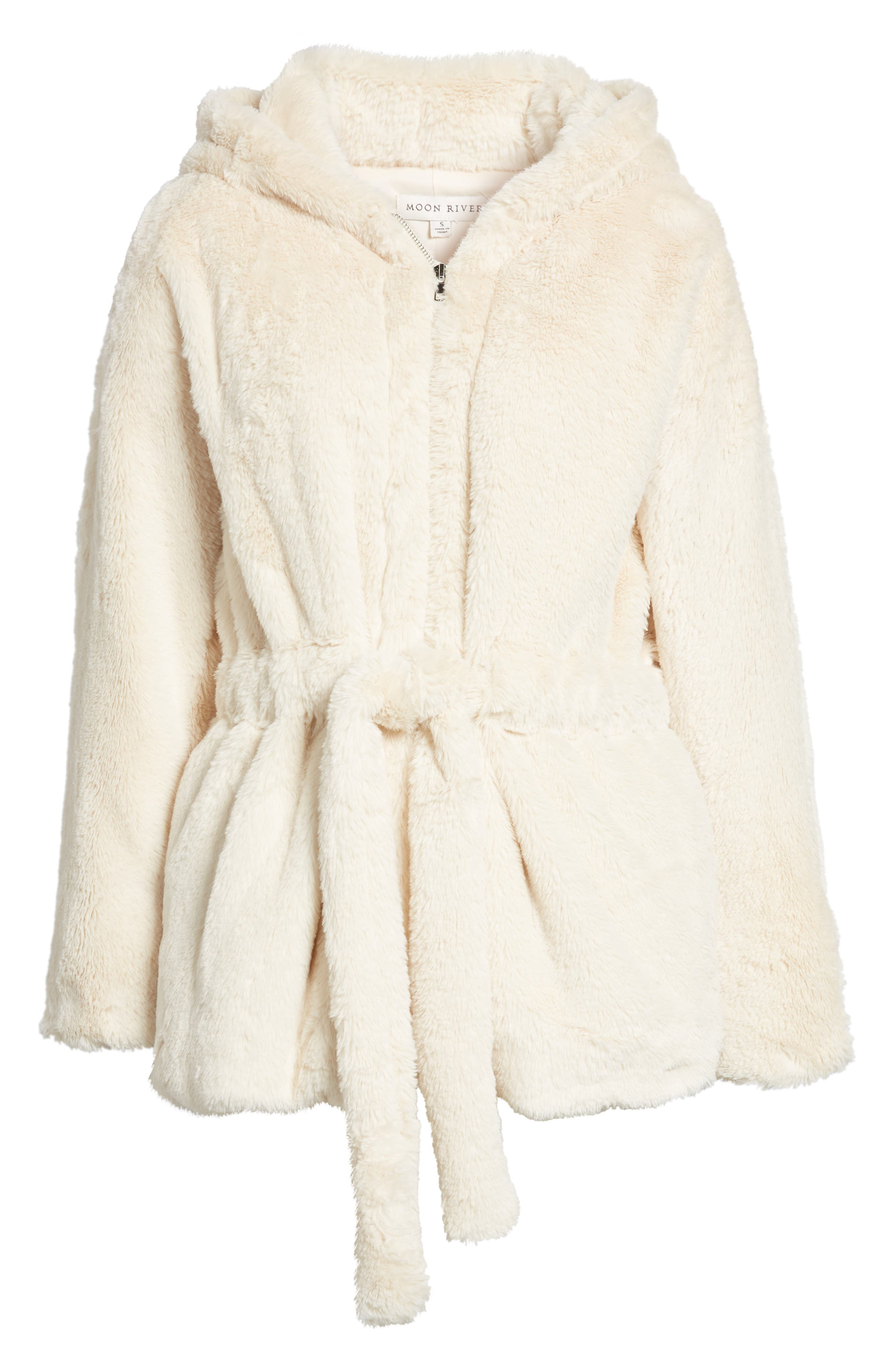 Faux Fur Hooded Jacket,                             Alternate thumbnail 6, color,                             900
